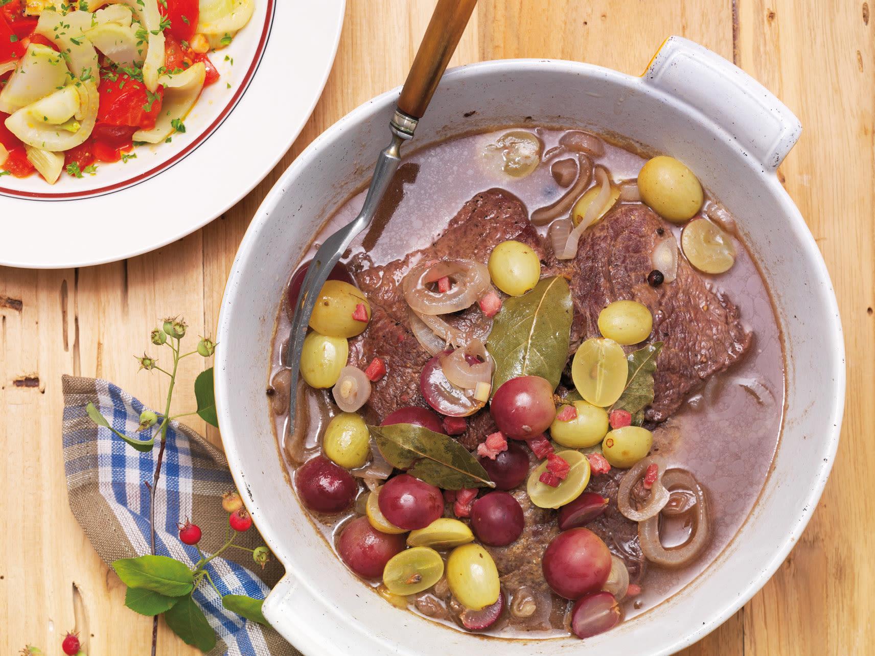 Steaks aux raisins