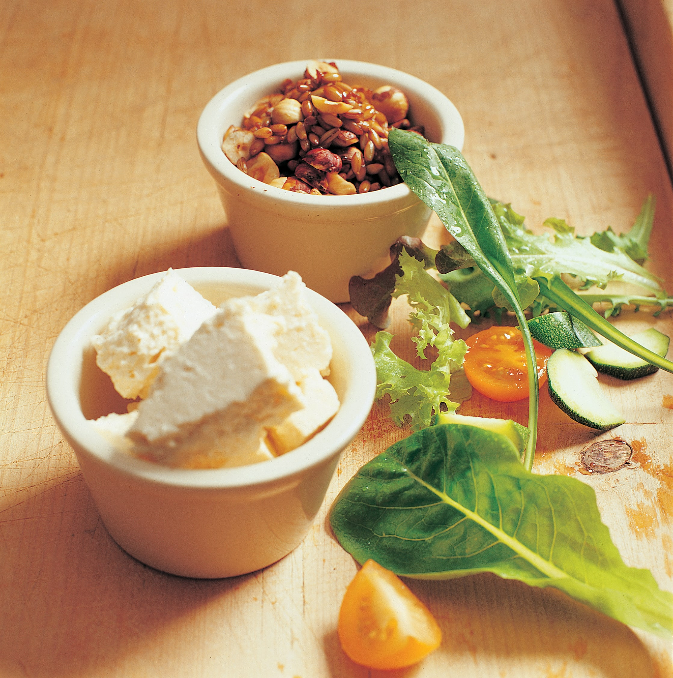 Salade au seigle mariné et au fromage frais