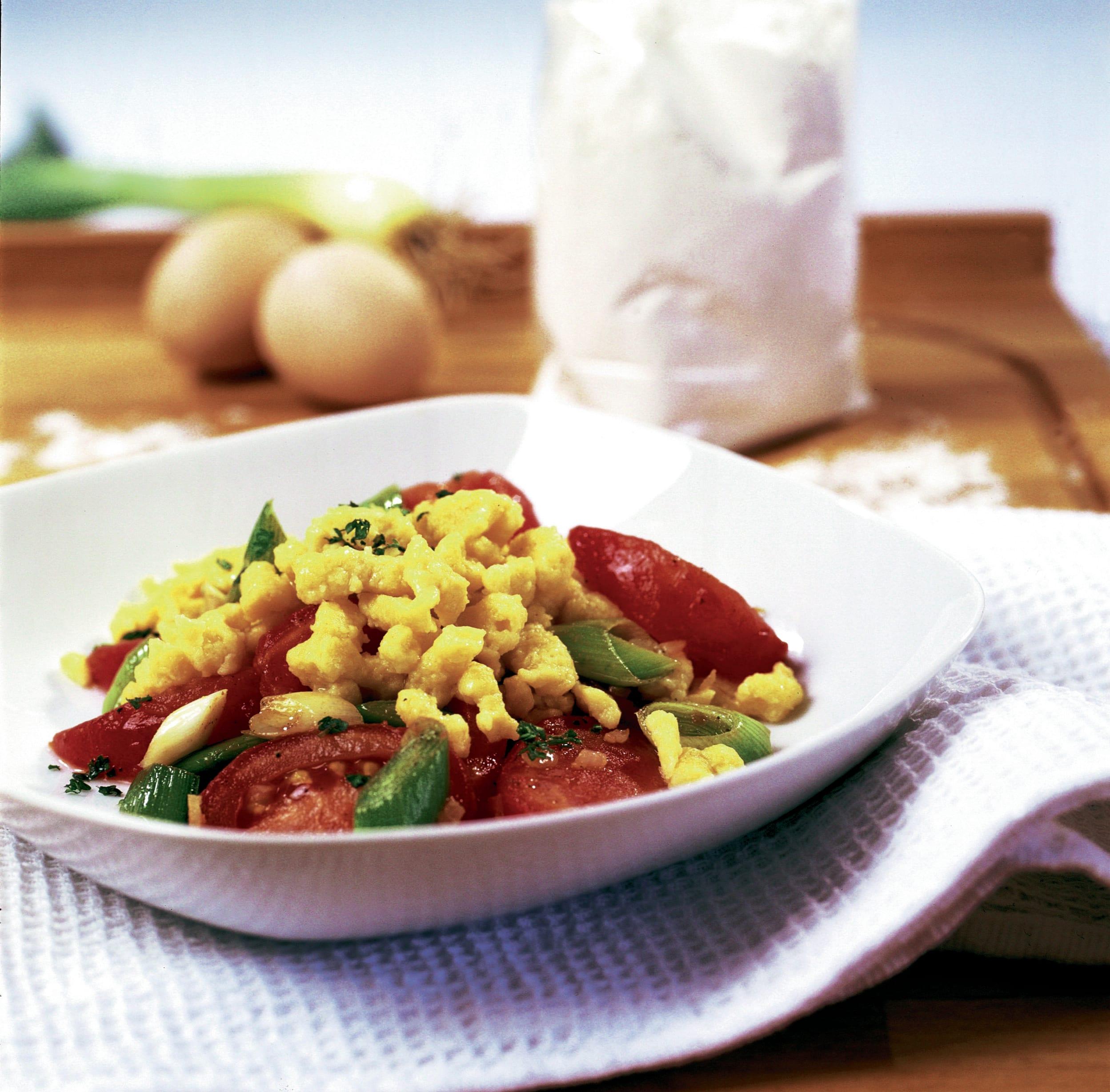 Knöpfli au sbrinz et aux légumes