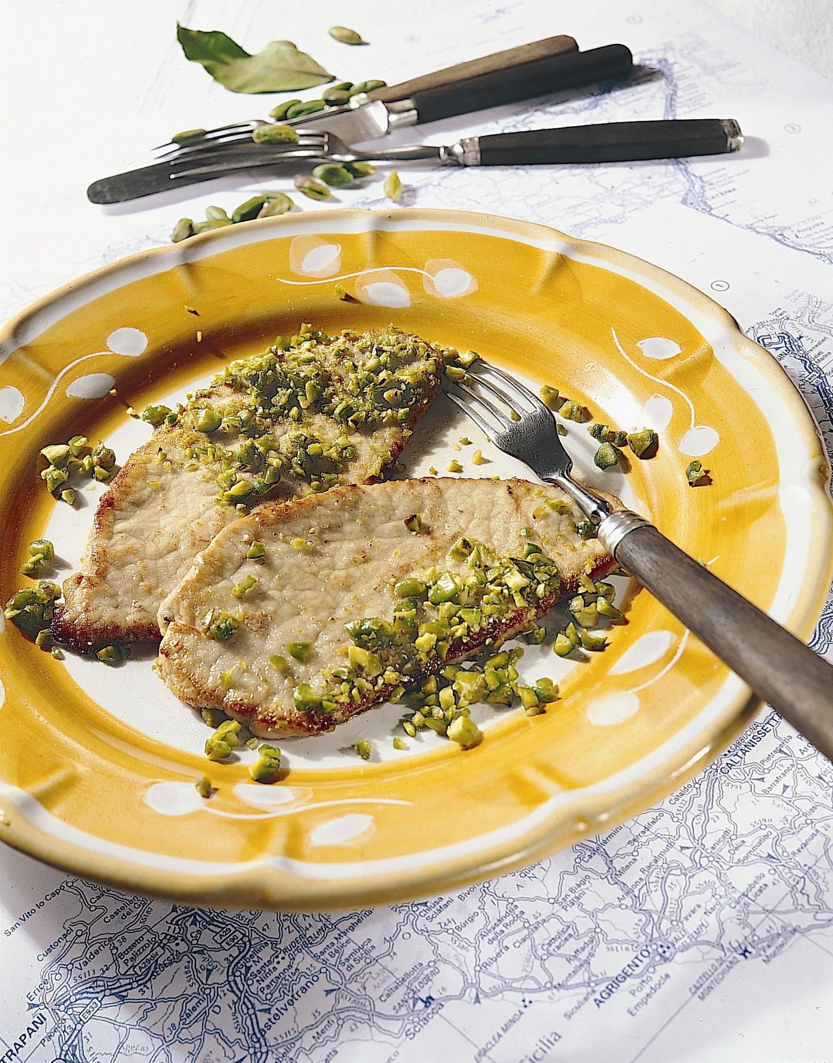 Scaloppine al pistacchio (Kalbsschnitzel mit Pistazien)