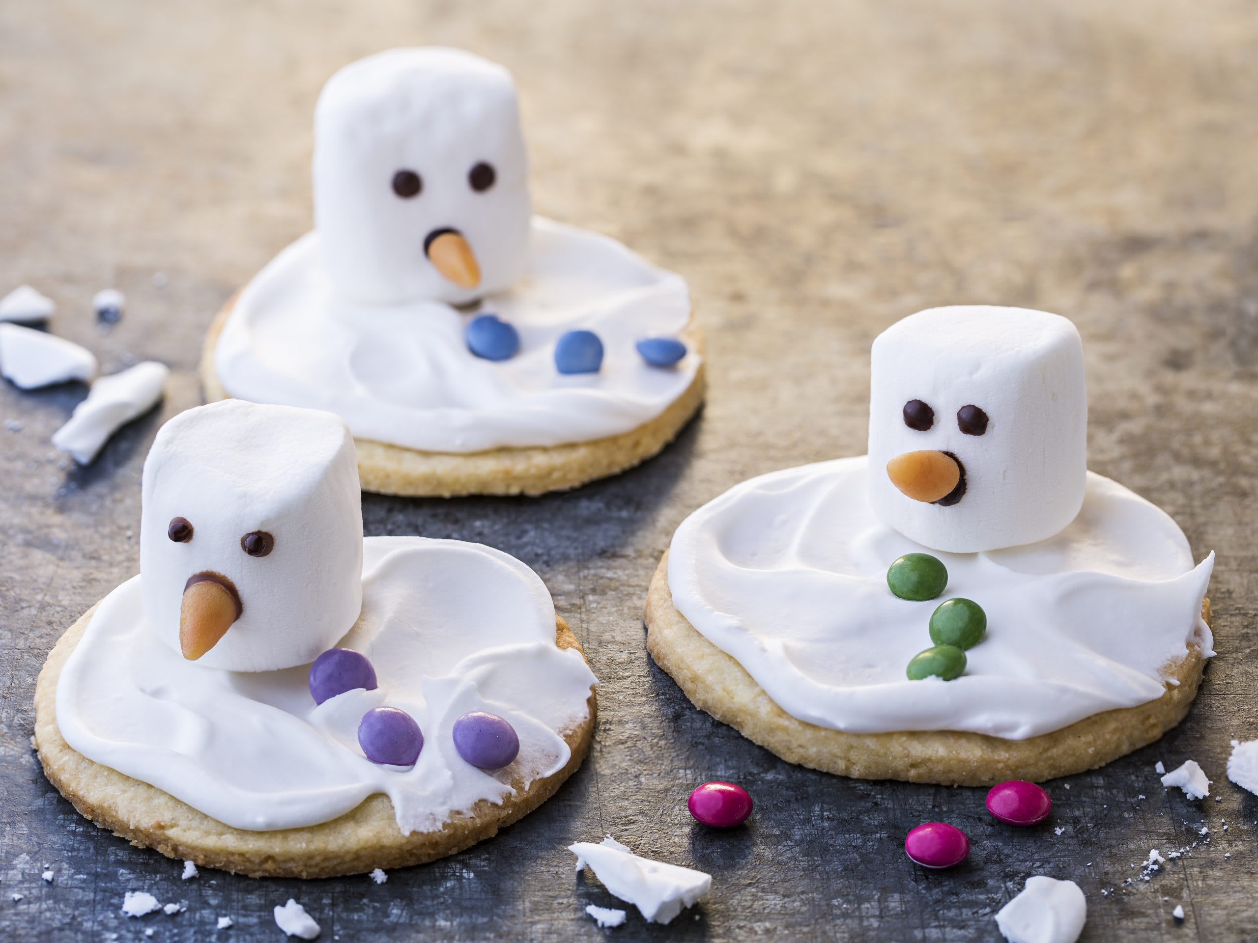Biscuits bonhomme de neige fondu