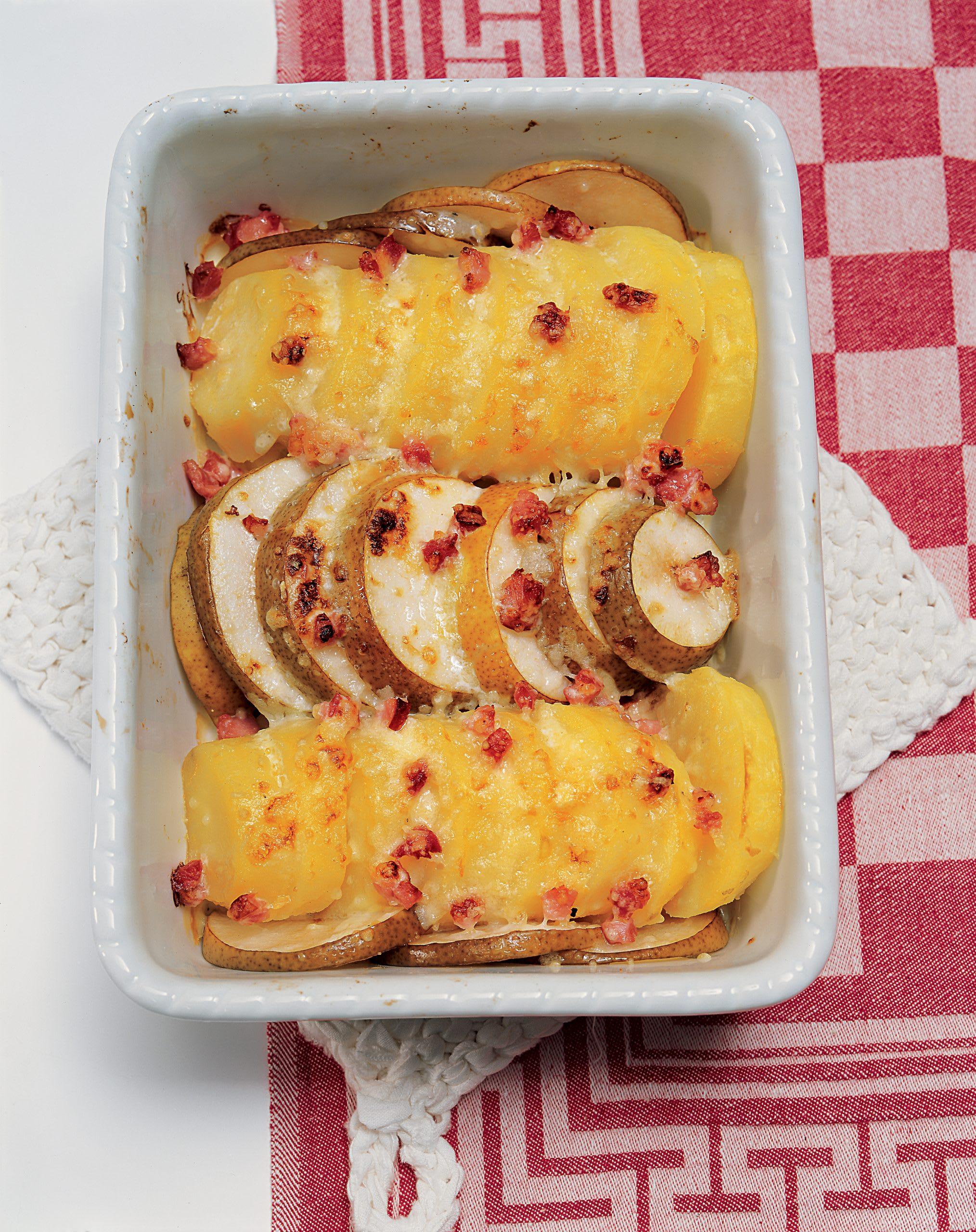 Schneller Kartoffel-Birnen-Gratin