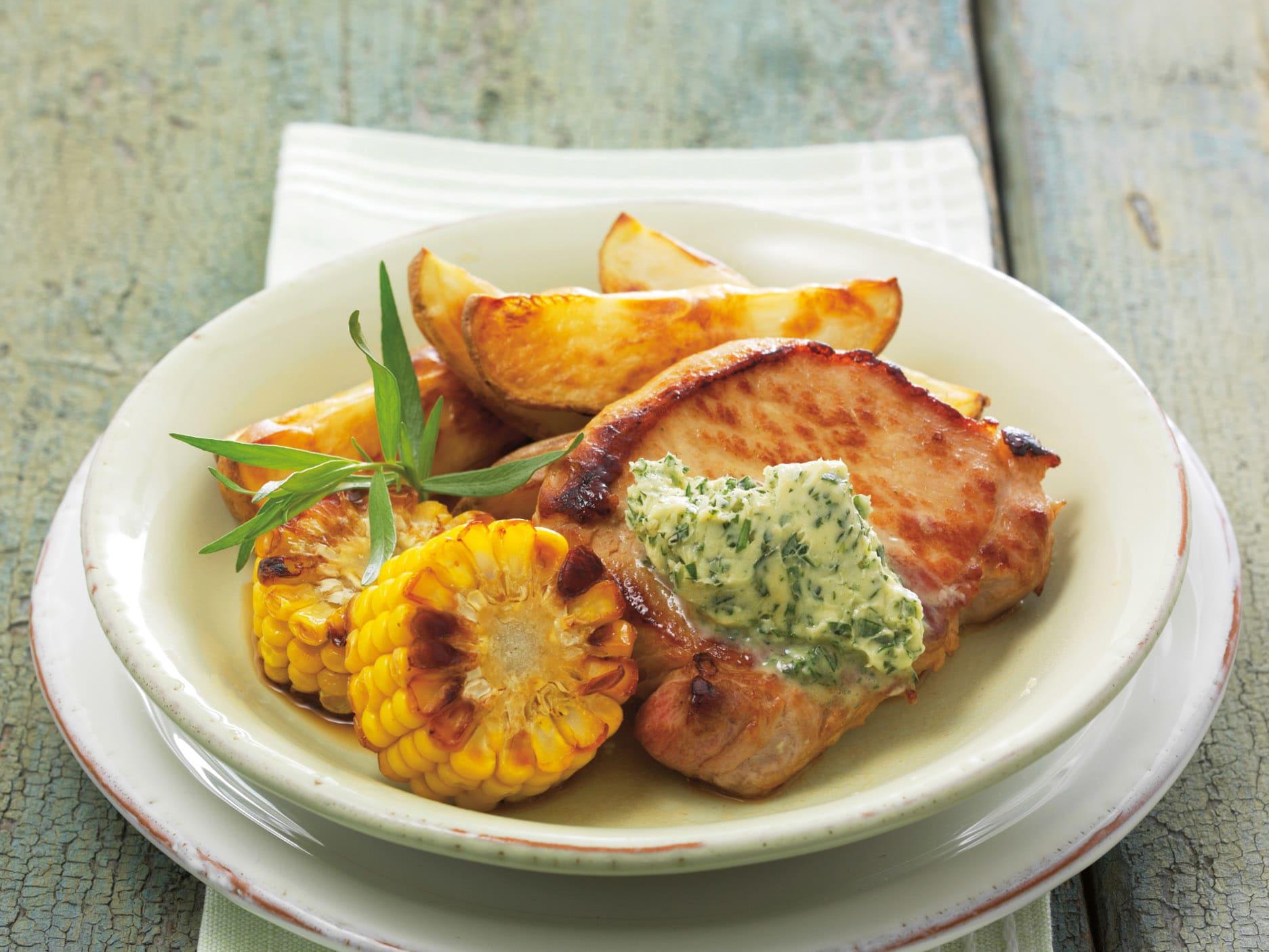 Escalopes et légumes grillés au four