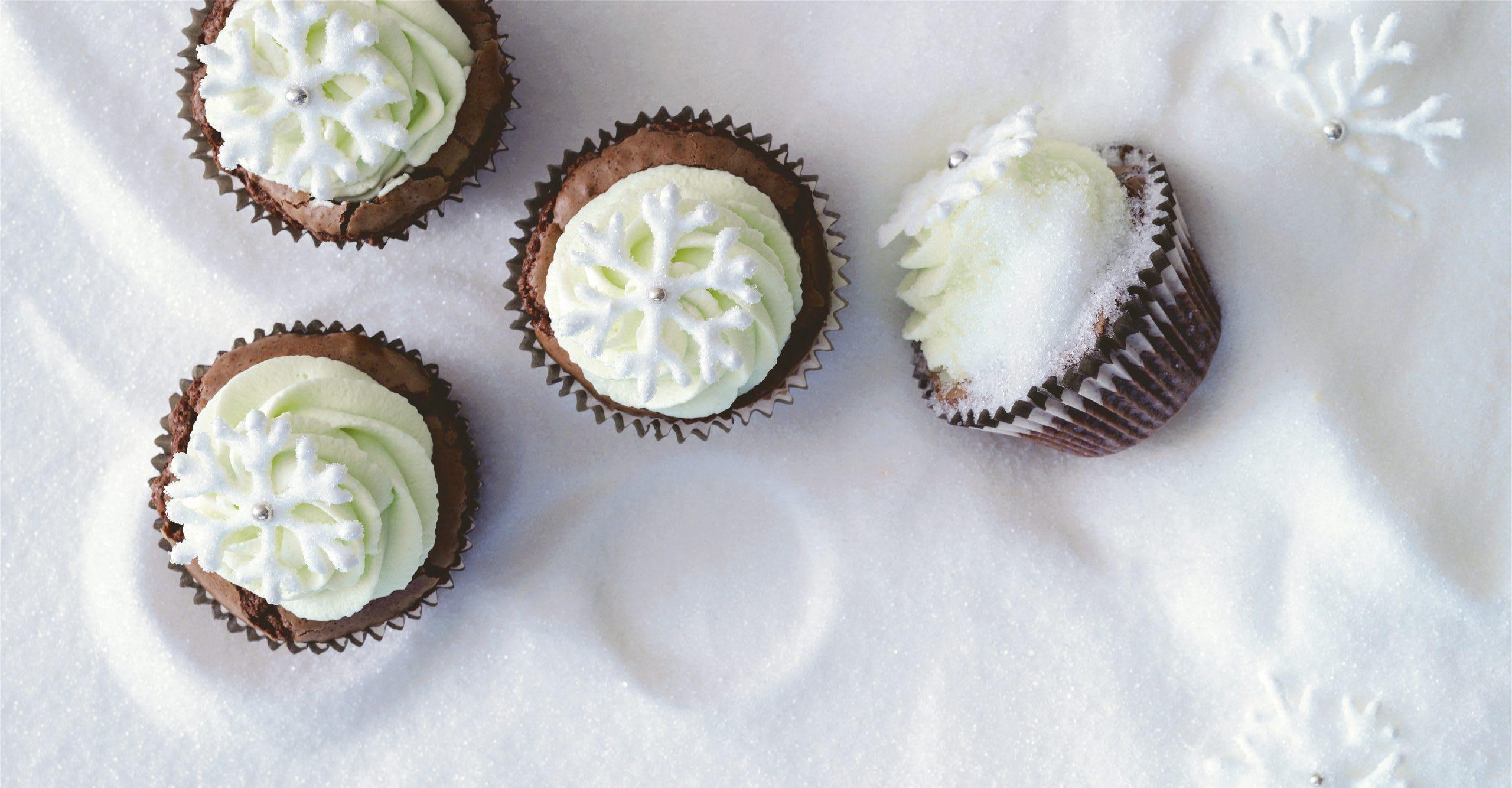 Schokoladen-Minz-Cupcakes