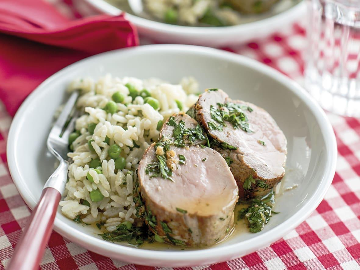 Schweinsfilet mit Erbsen-Reis