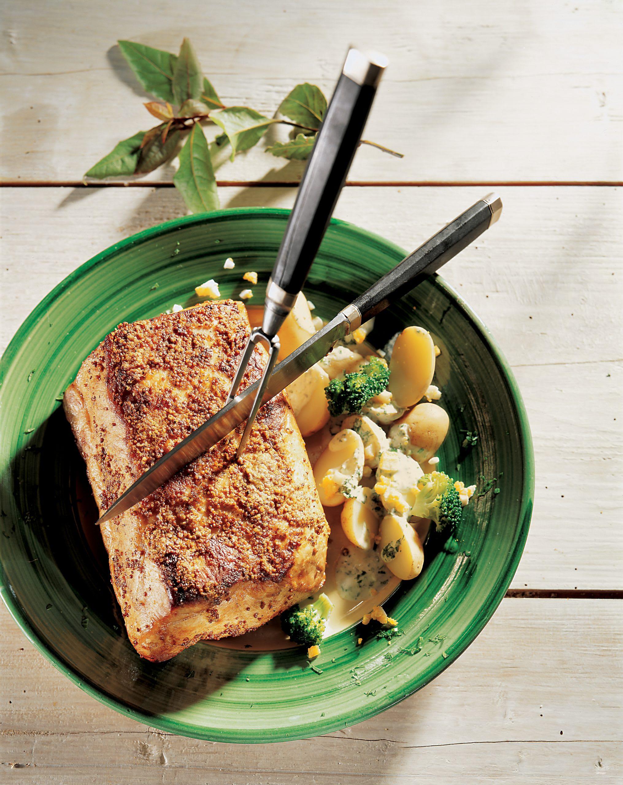 Filet de porc sauce moutarde et oignon frais