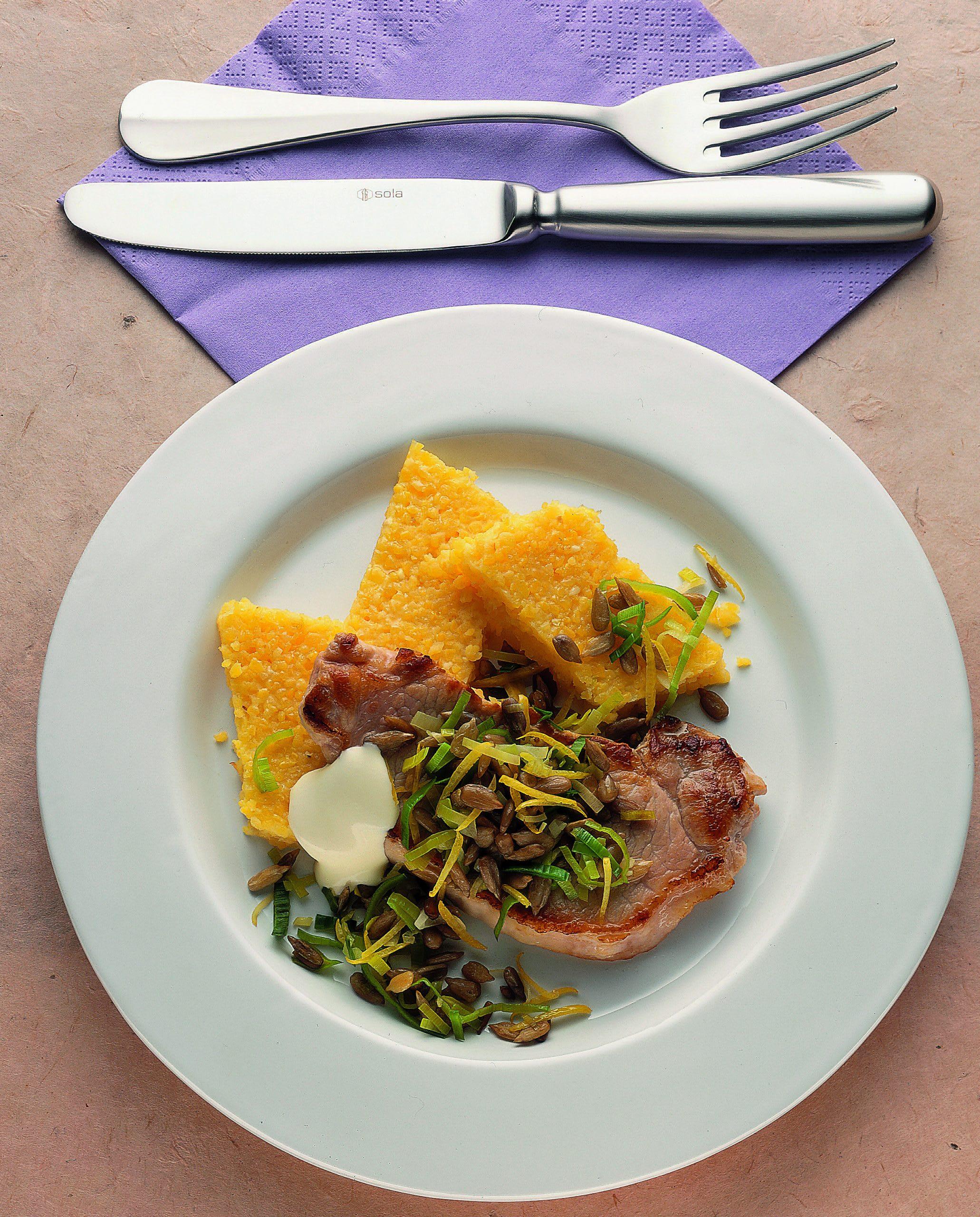 Escalopes de porc et tartare de poireau