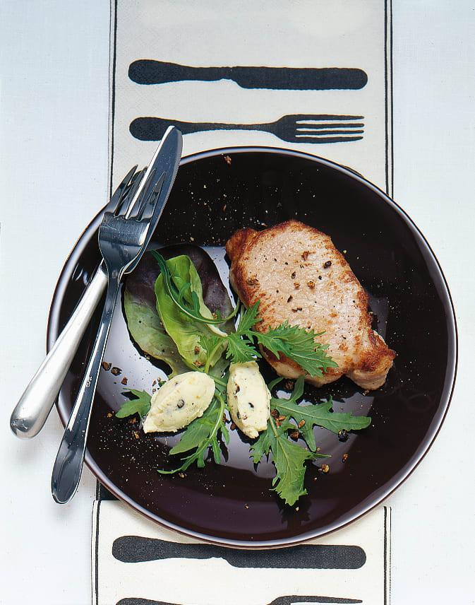 Escalope de porc au beurre de genièvre