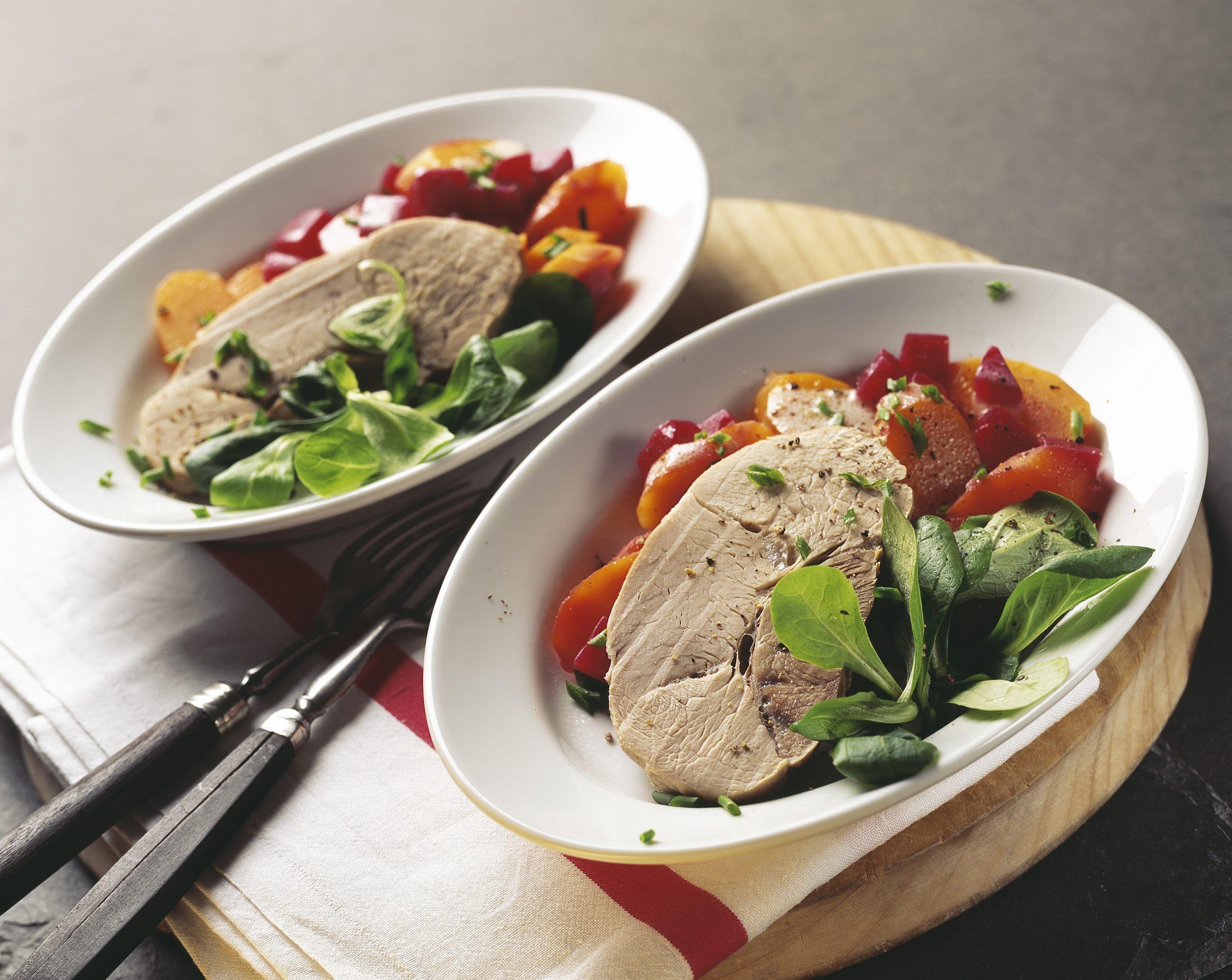 Siedfleisch mit lauwarmem Rüebli-Randen-Salat
