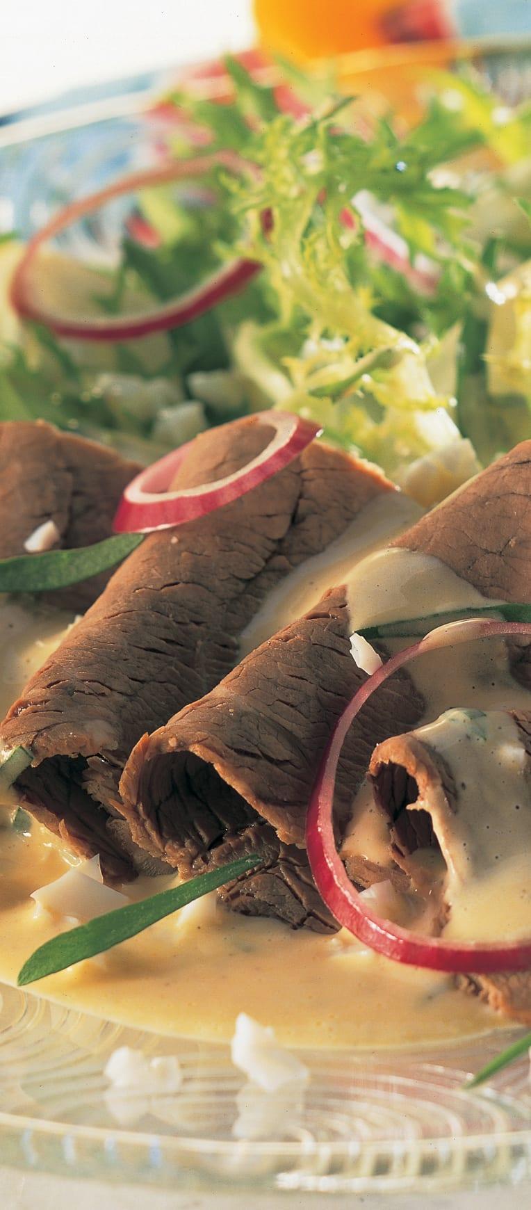 Salade de bouilli aux radis sauce estragon
