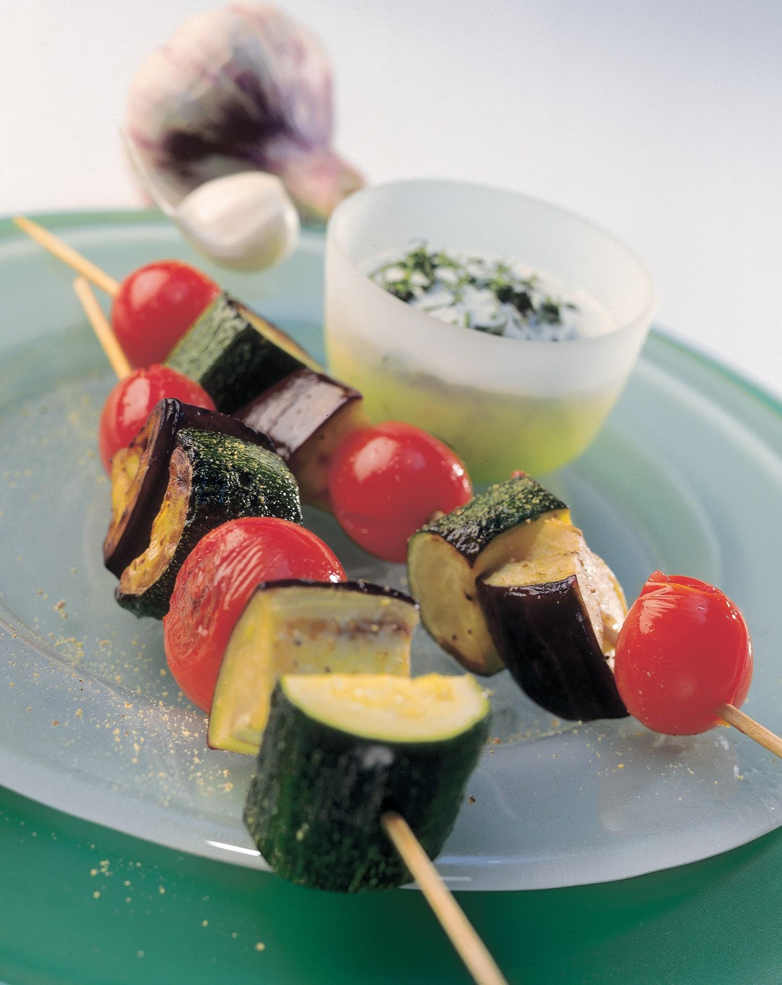 Brochettes de légumes à l'ail