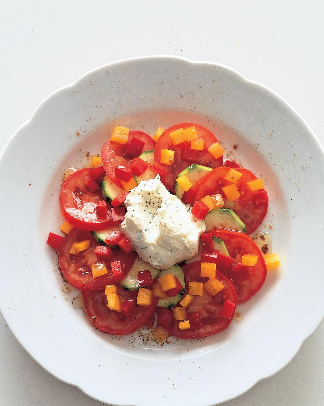 Légumes d'été nappés de mascarpone au basilic