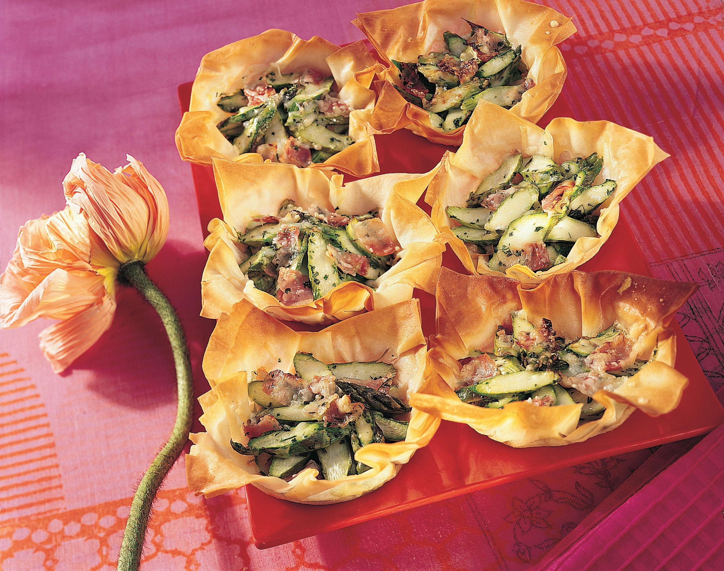Tartelettes aux asperges et au lard