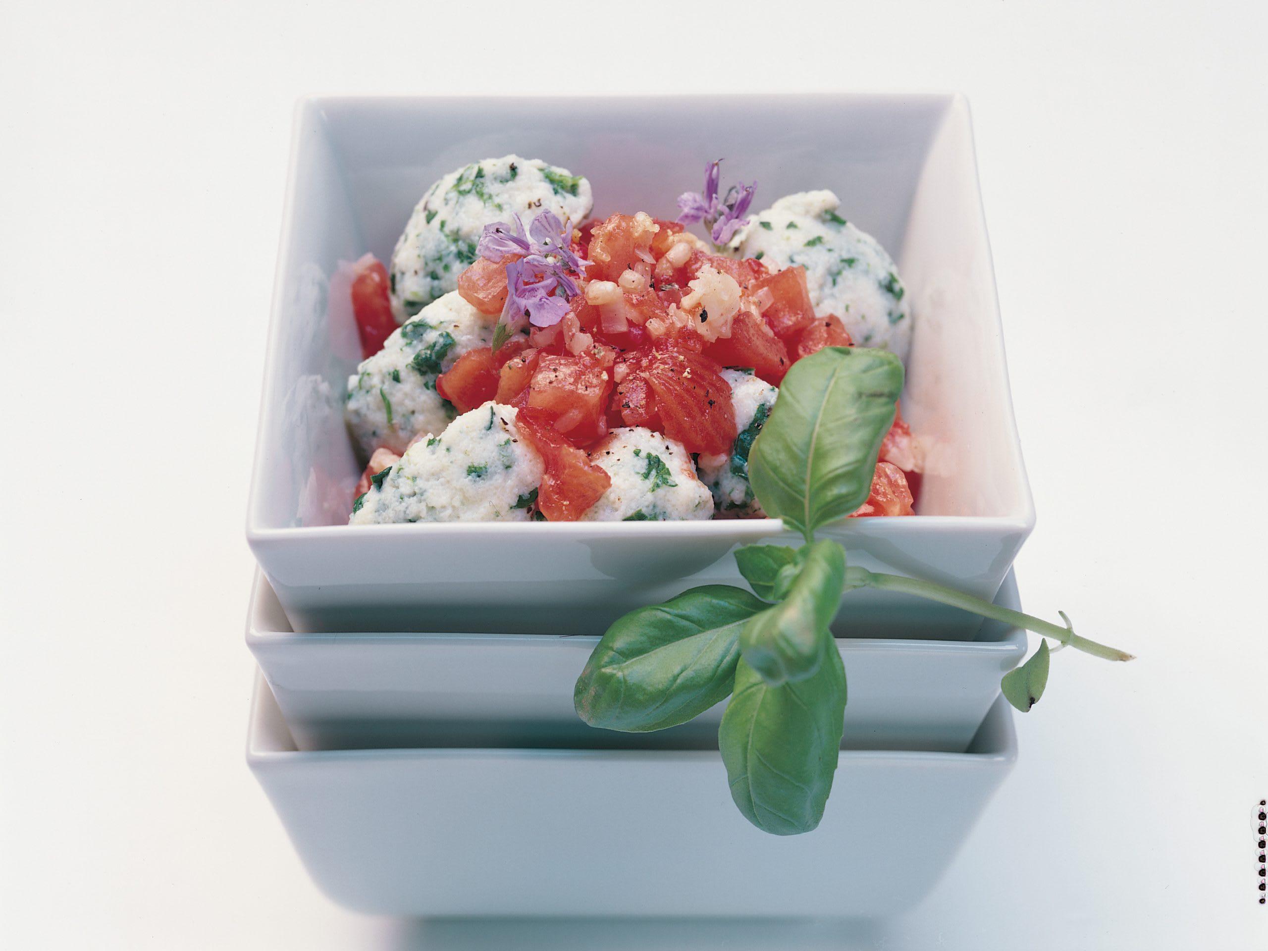 Gnocchi aux épinards et concassé de tomates