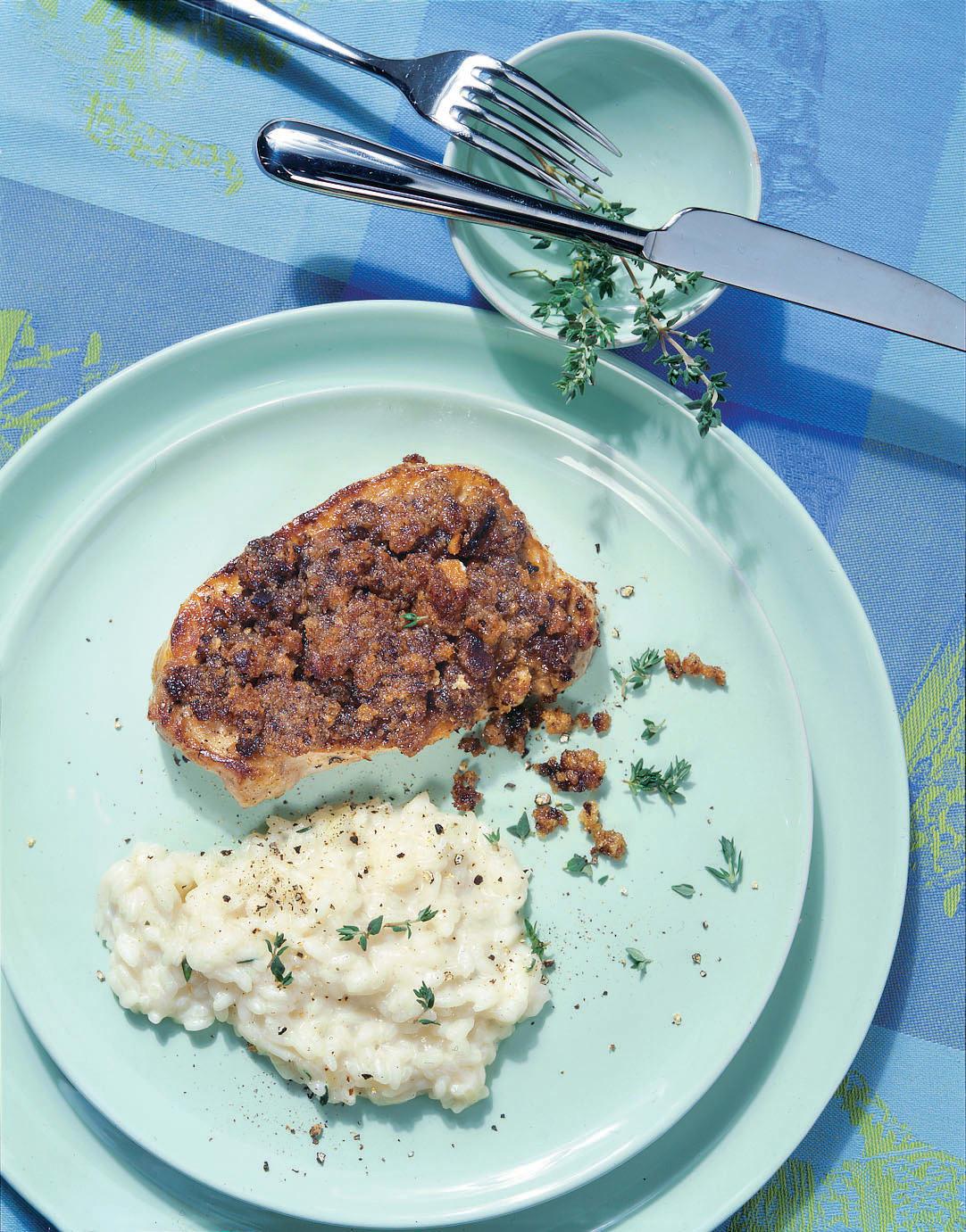 Steaks de porc en croûte de pain d'épice