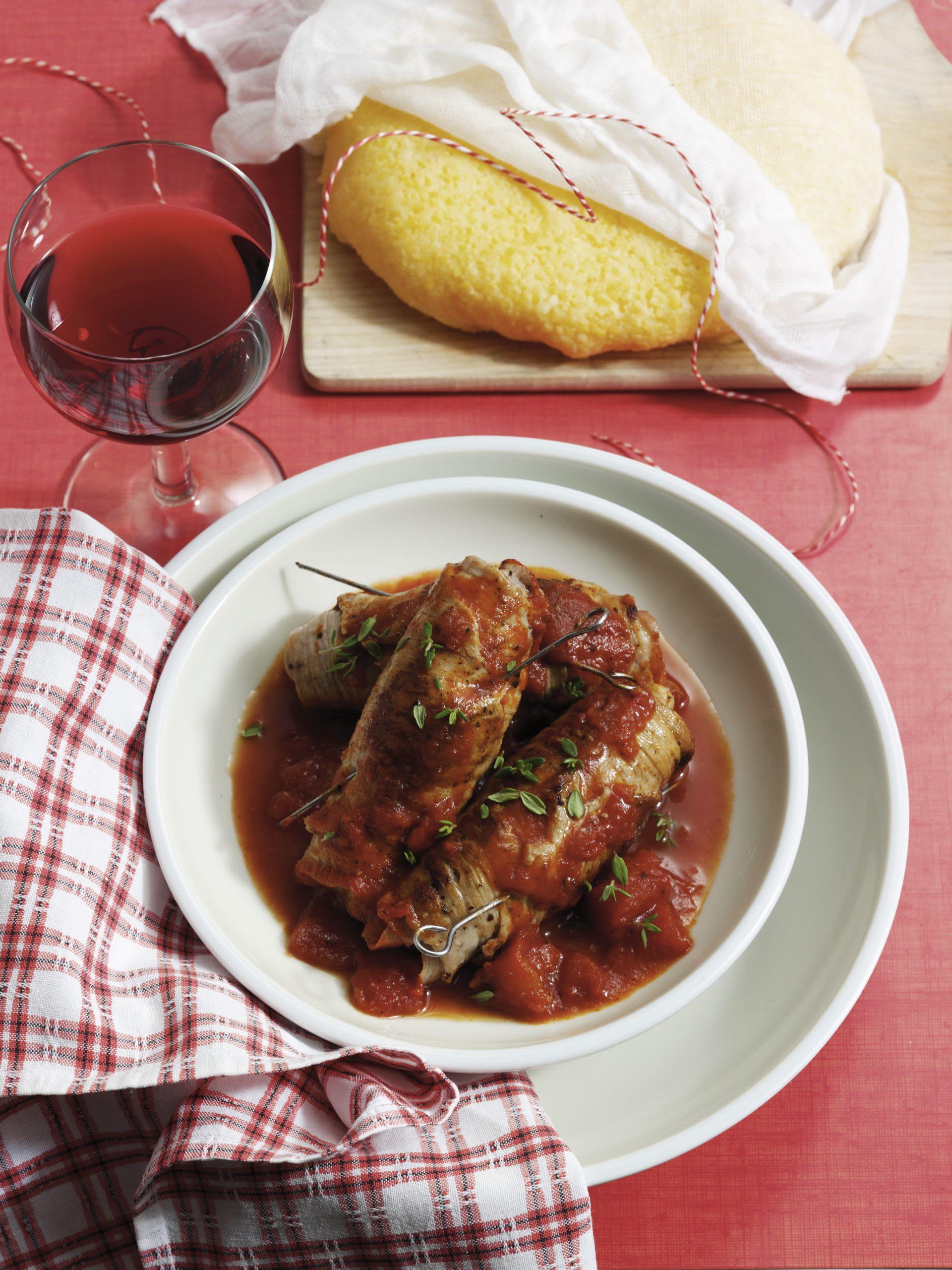 Paupiettes de veau à la tessinoise et polenta
