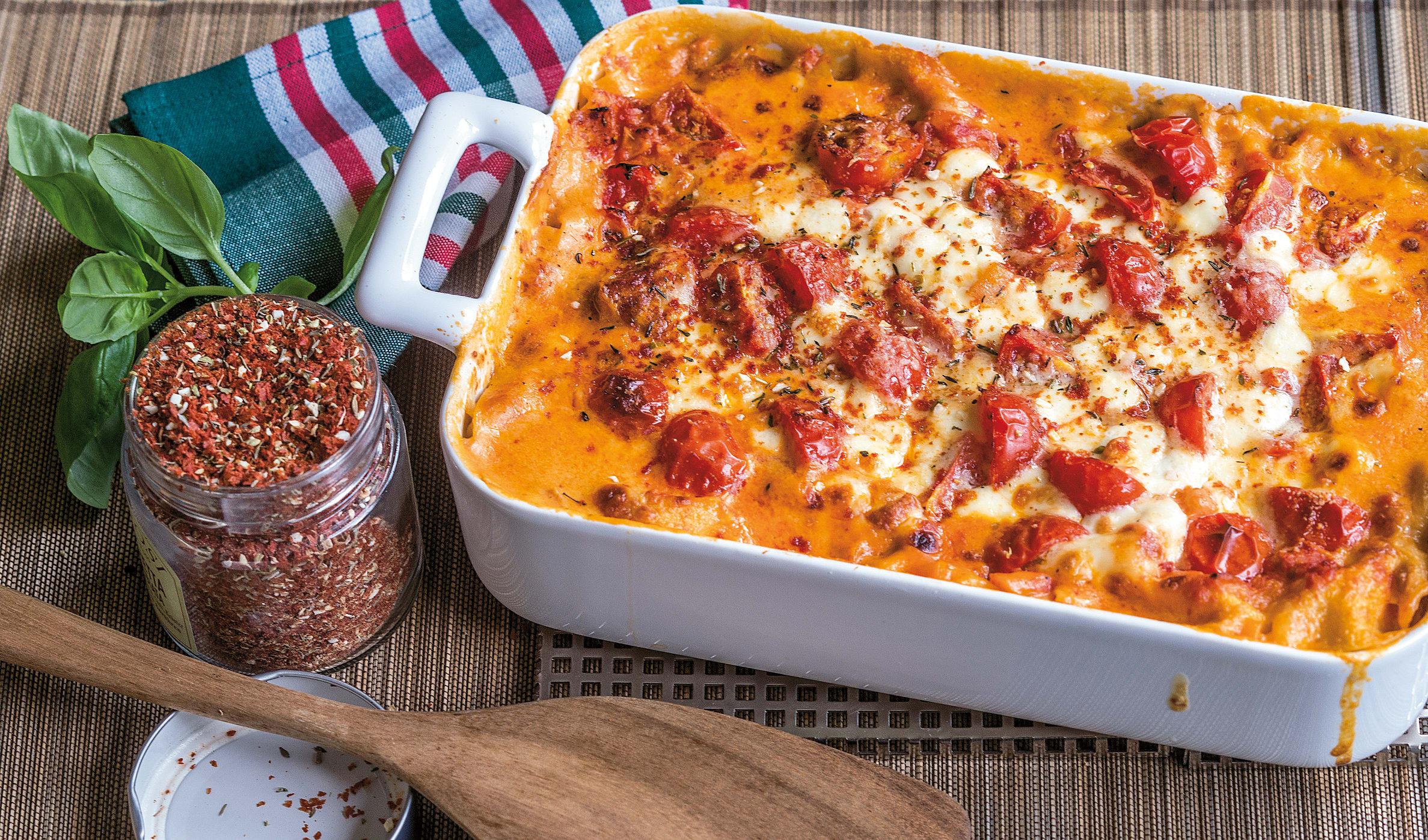 Lasagne aux tomates et au chou-fleur