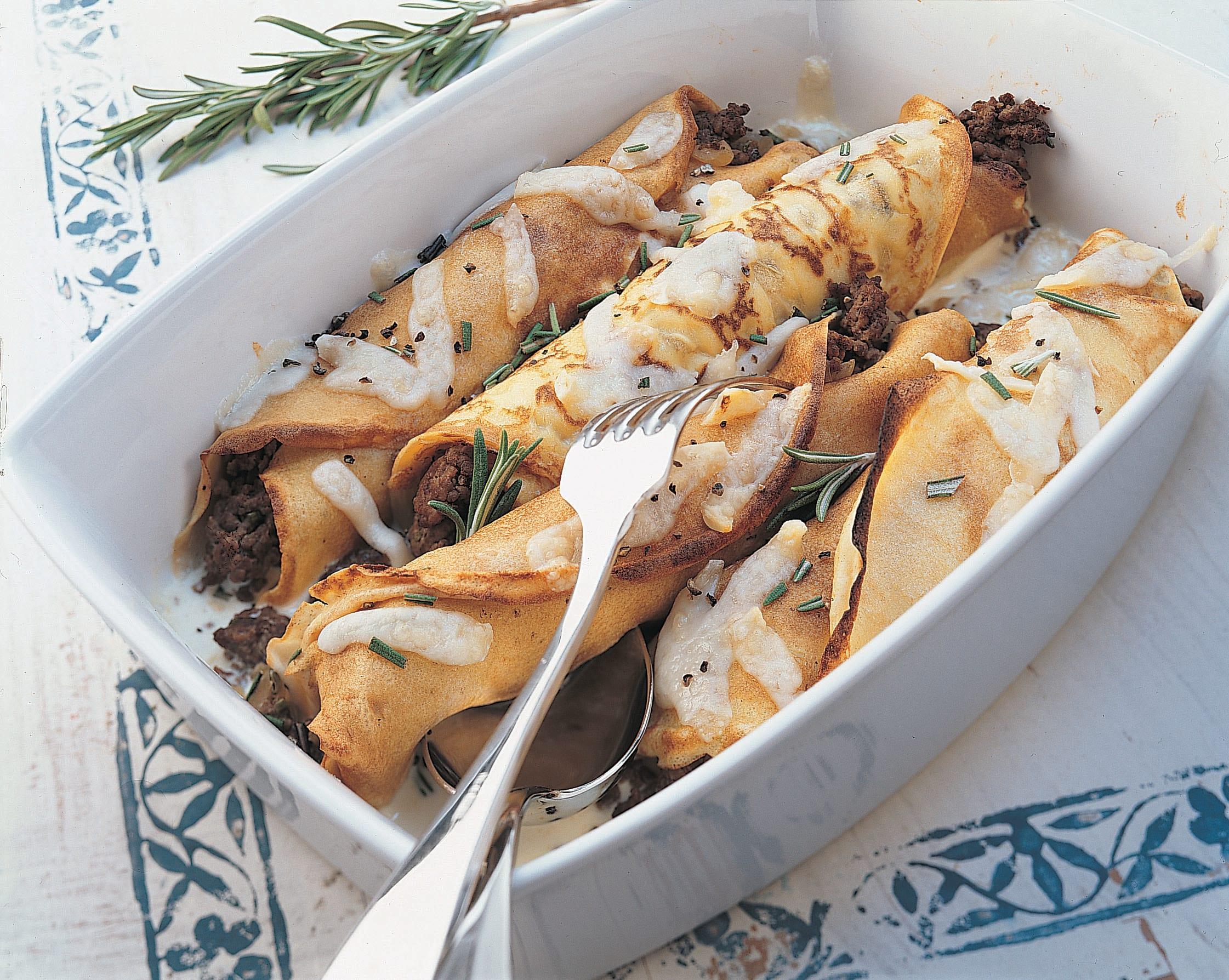 Überbackene Rindfleisch-Gemüse-Crêpes