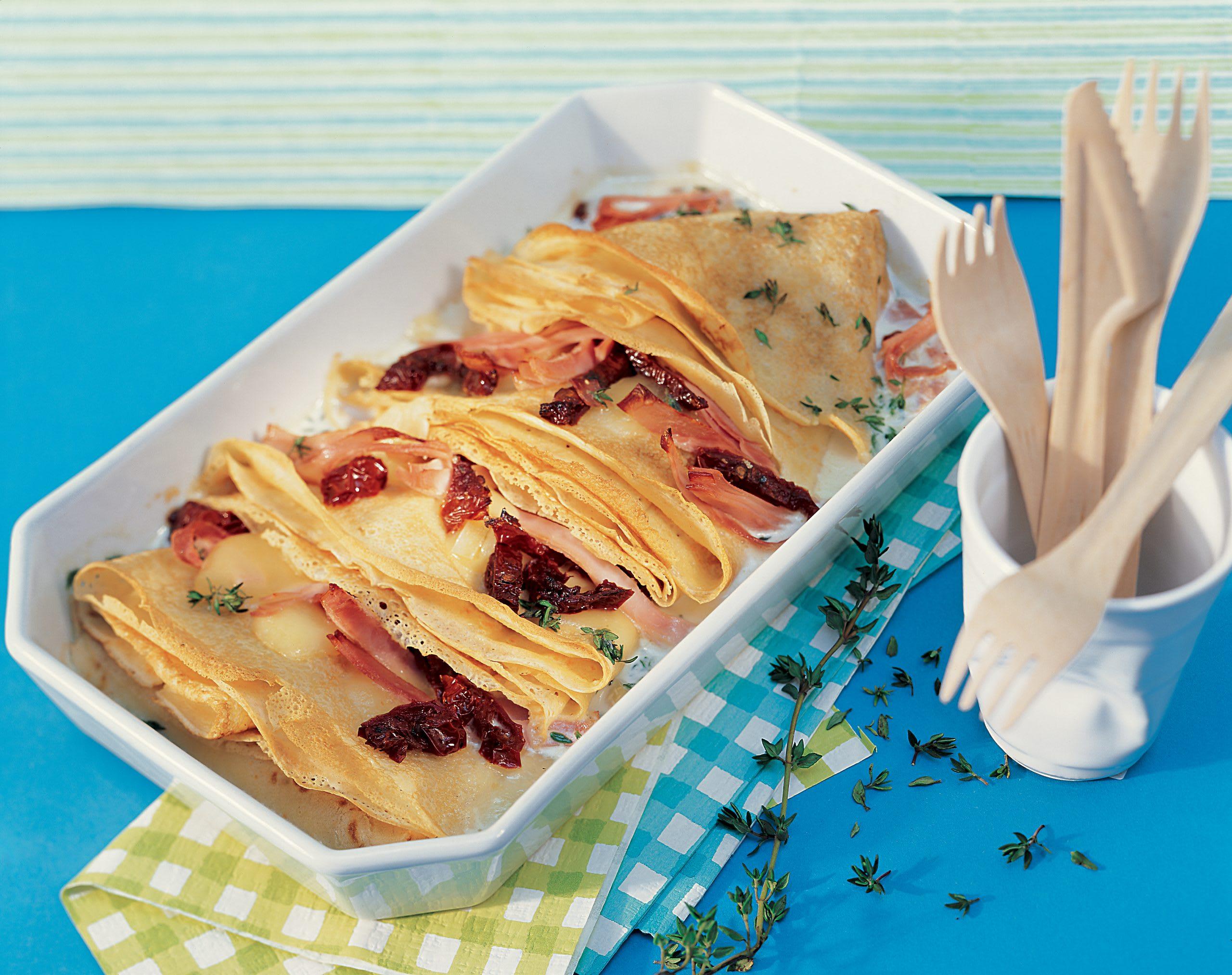 Crêpes gratinées au jambon et au fromage