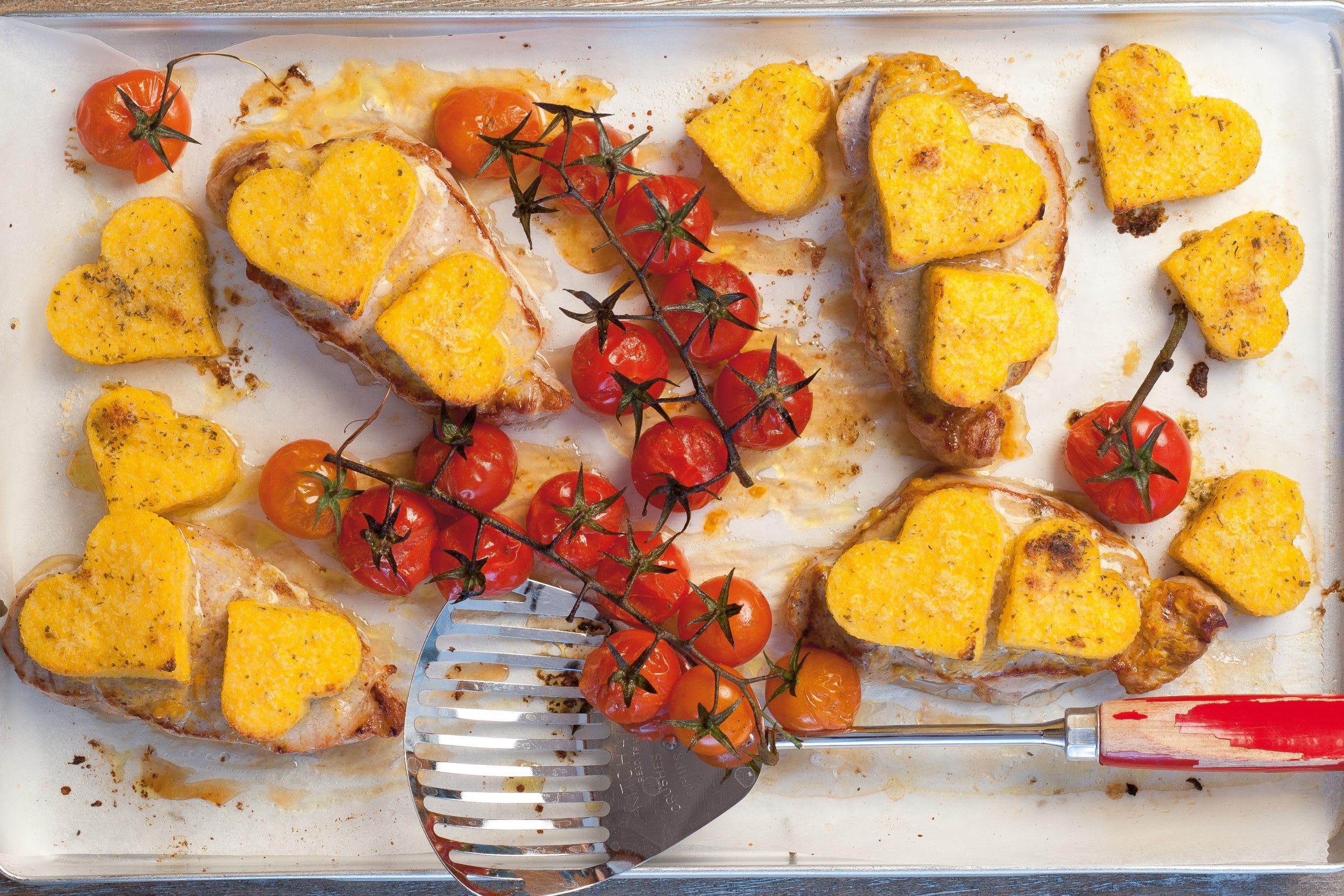 Médaillons de porc au four et coeurs de polenta