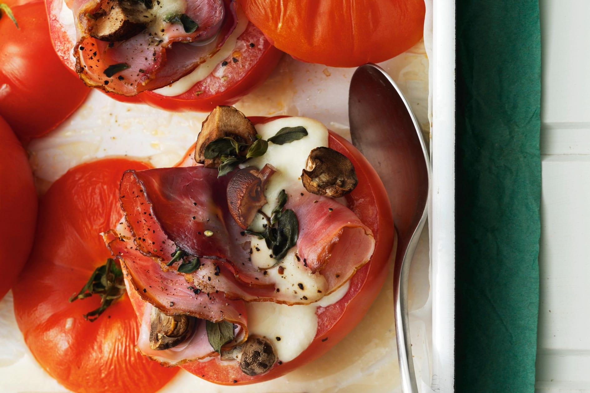 Tomates au four jambon-champignon