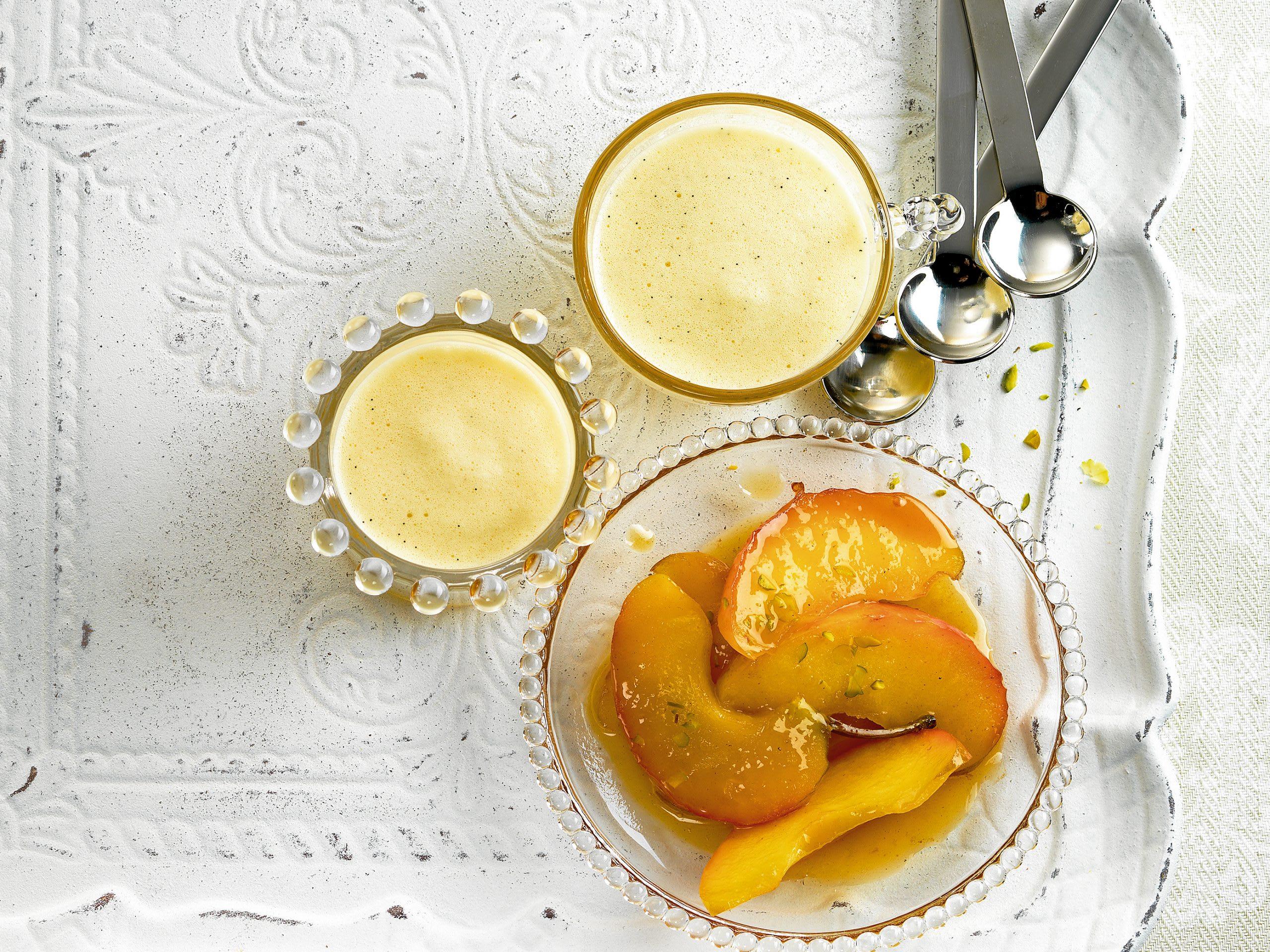 Sabayon à la vanille et pommes caramélisées