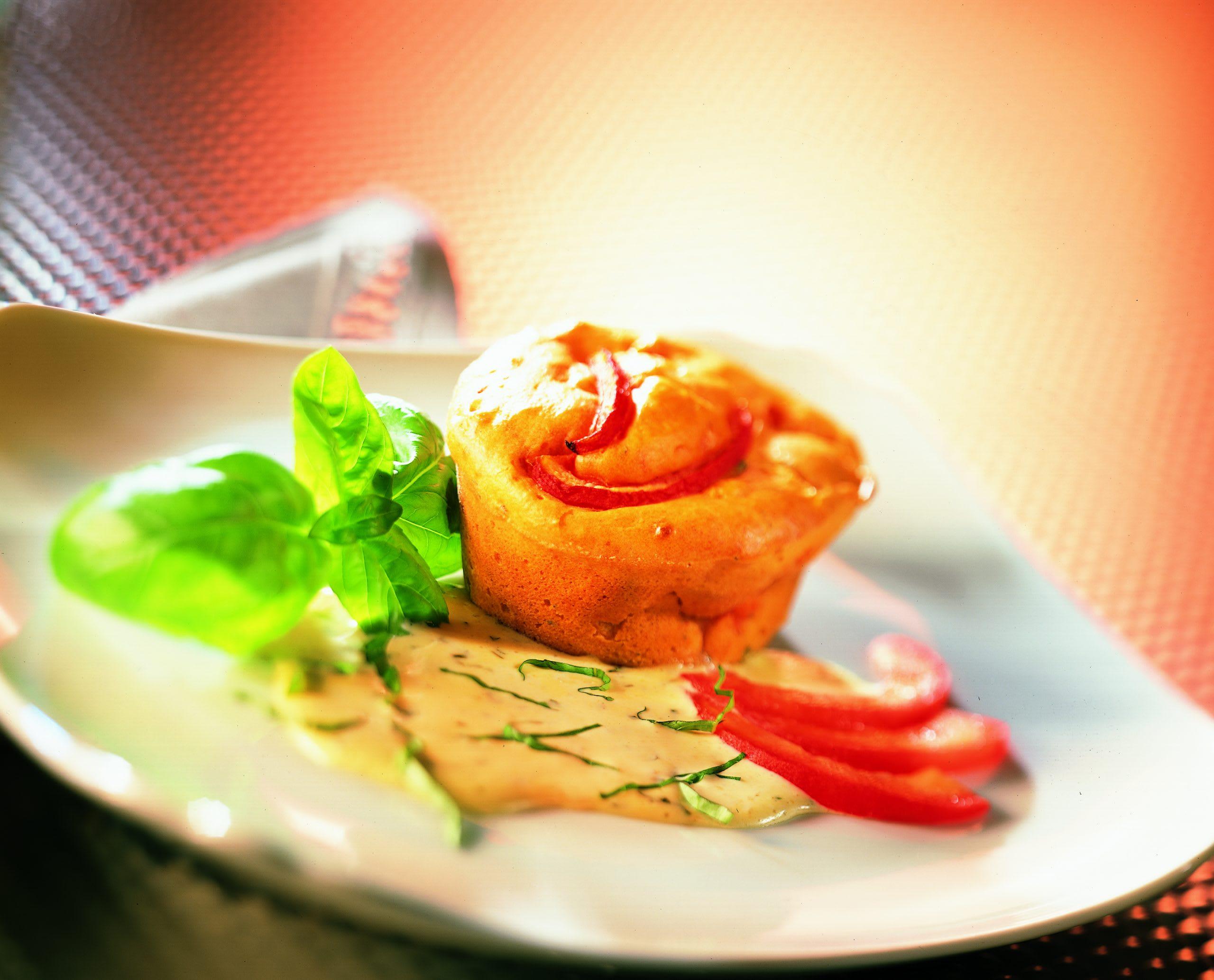 Pudding de tomate chaud à la sauce au mascarpone
