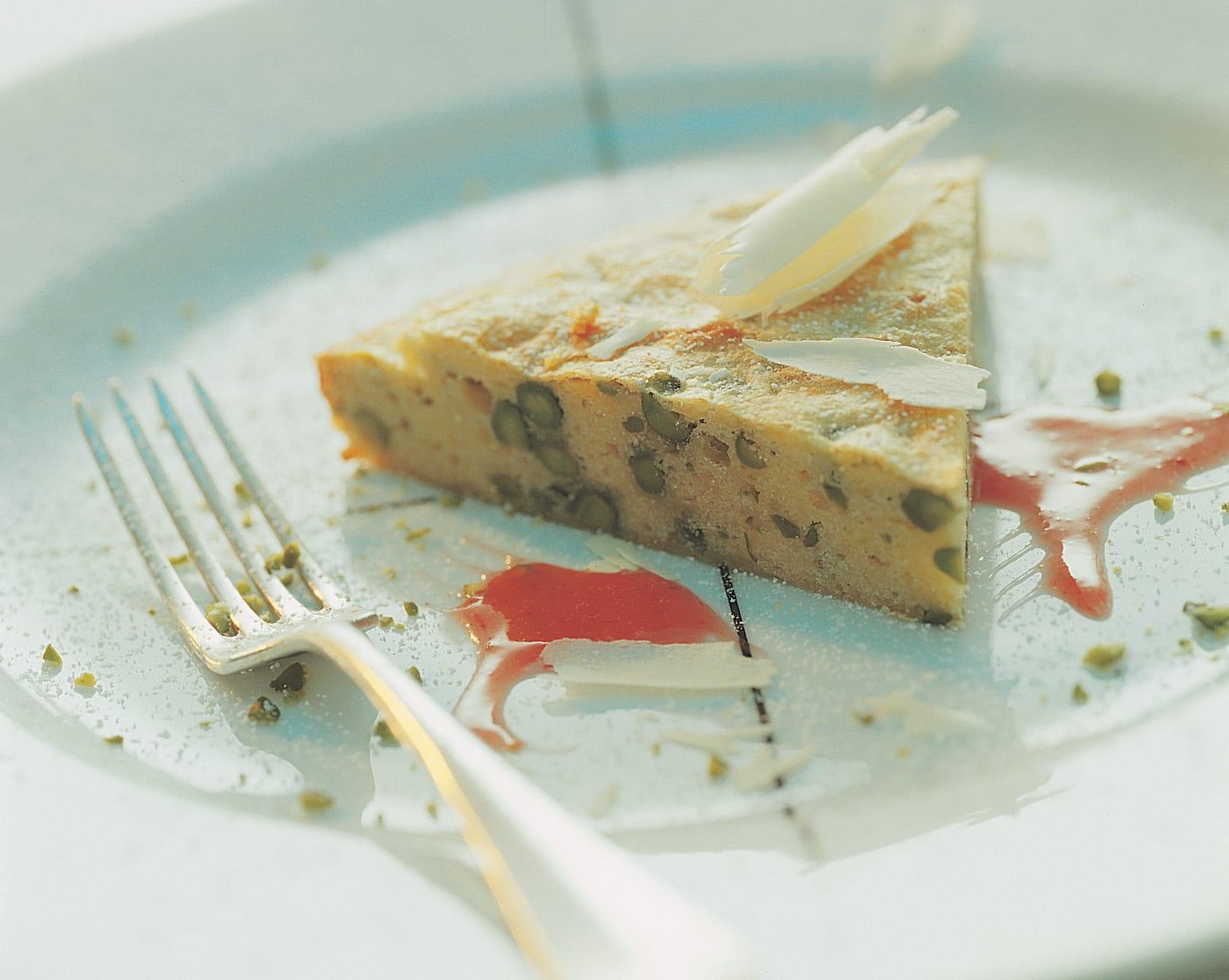 Gâteau au chocolat blanc et aux pistaches