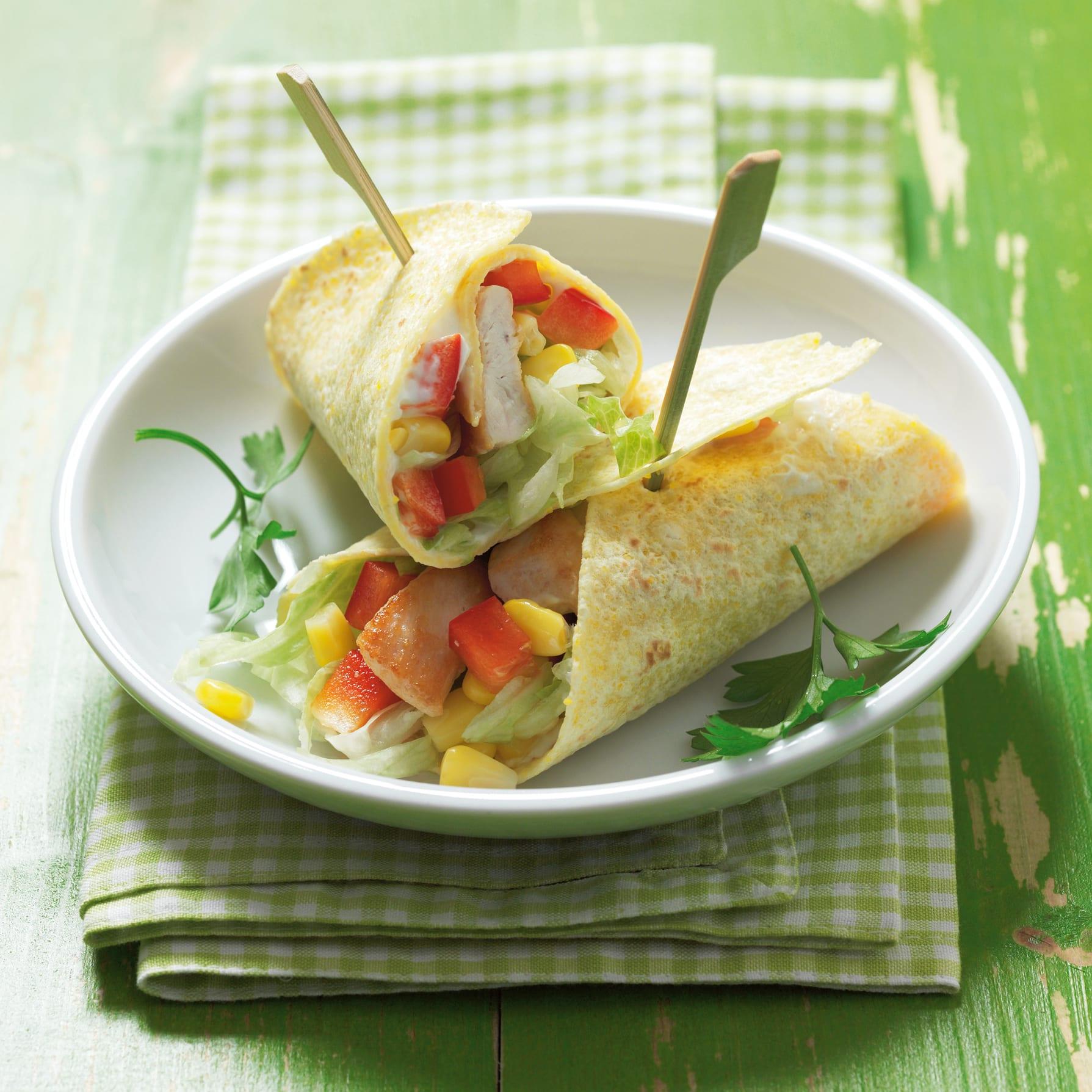 Wraps mit Poulet und Joghurtsauce