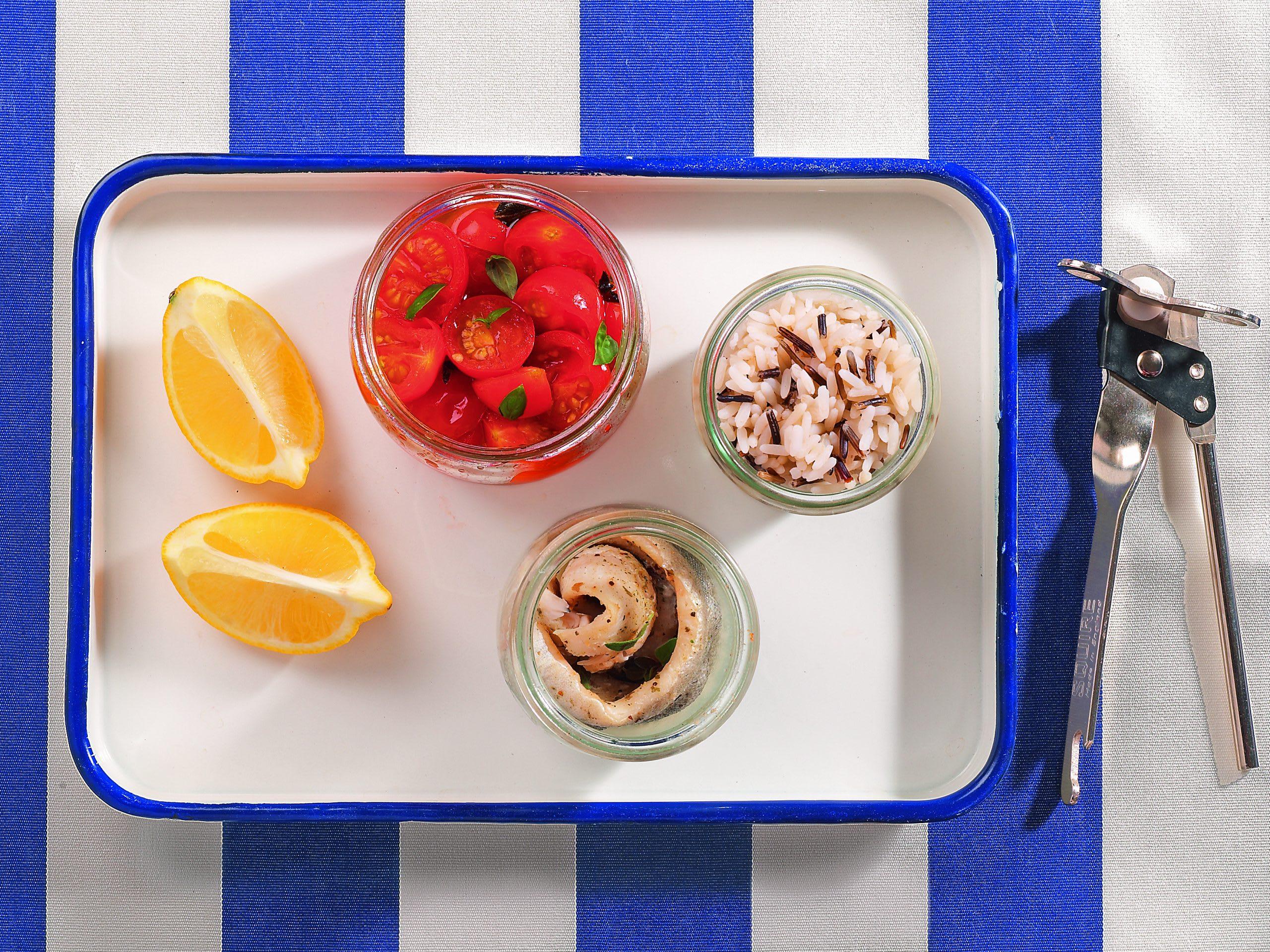 Fisch & Gemüse im Glas gekocht, im Glas serviert