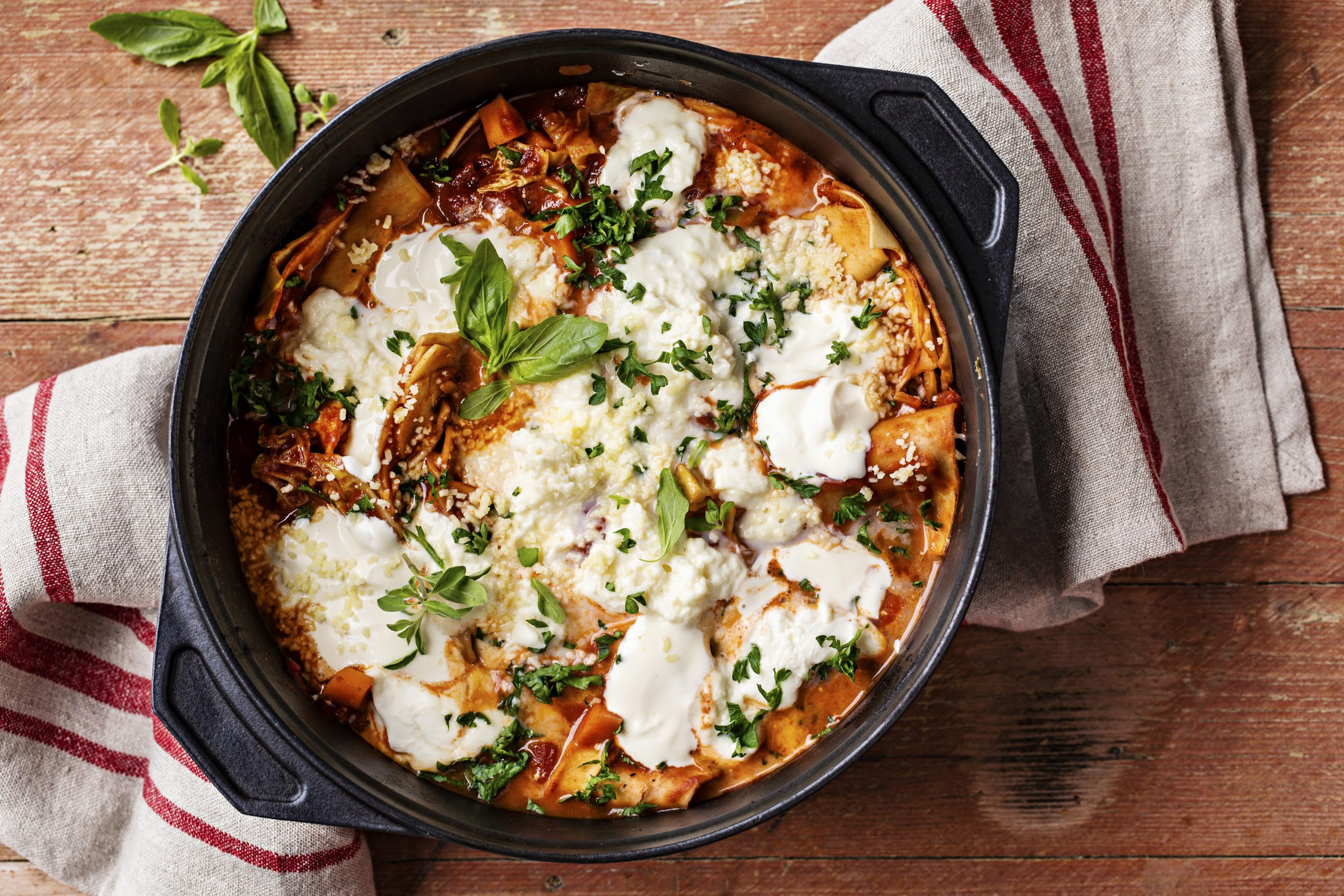 Vegetarische One-Pot-Lasagne