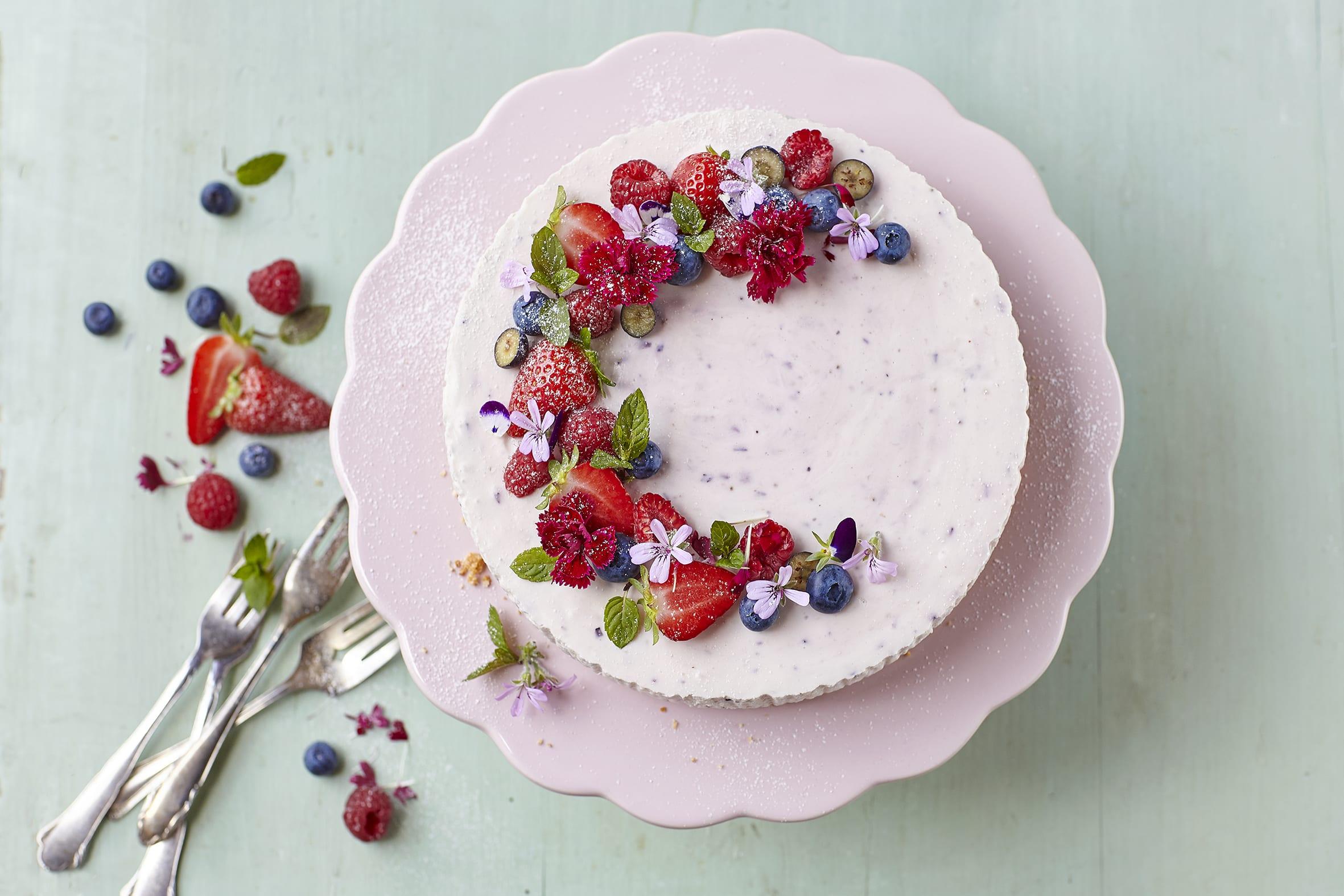 Gâteau au séré et aux fruits rouges (sans cuisson)