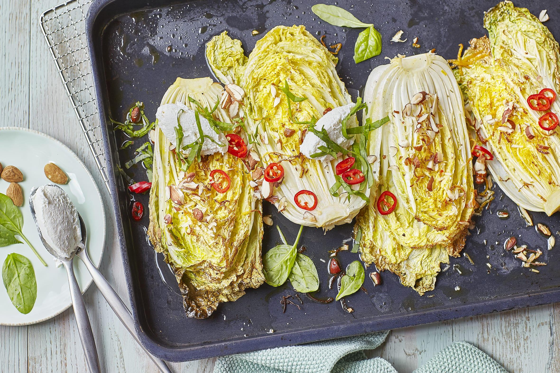 Chou chinois au four et quenelles de ricotta (low carb)