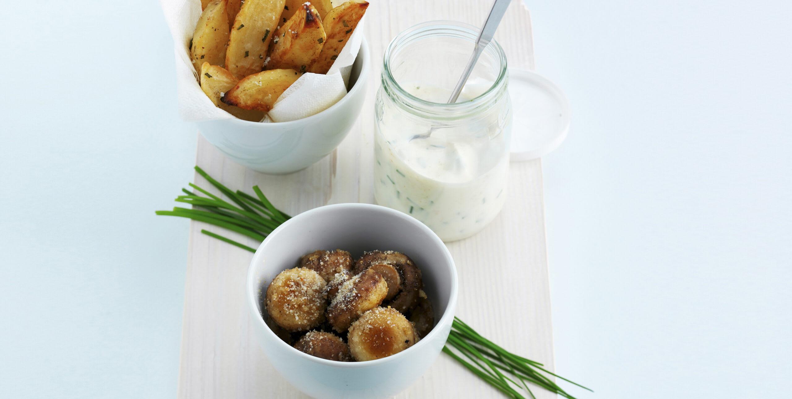Potatoes, champignons et séré aux herbes