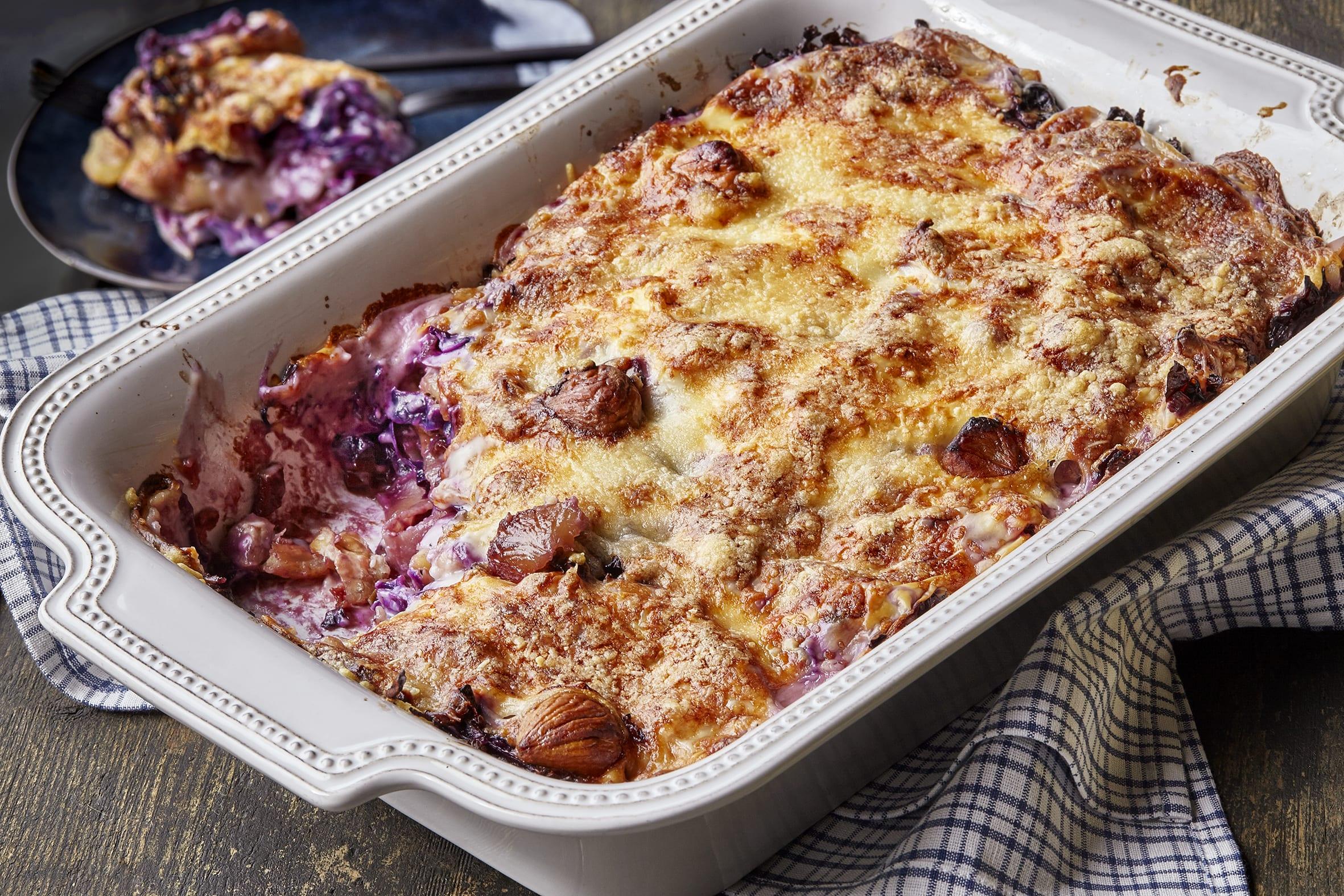 Marroni-Rotkraut-Lasagne