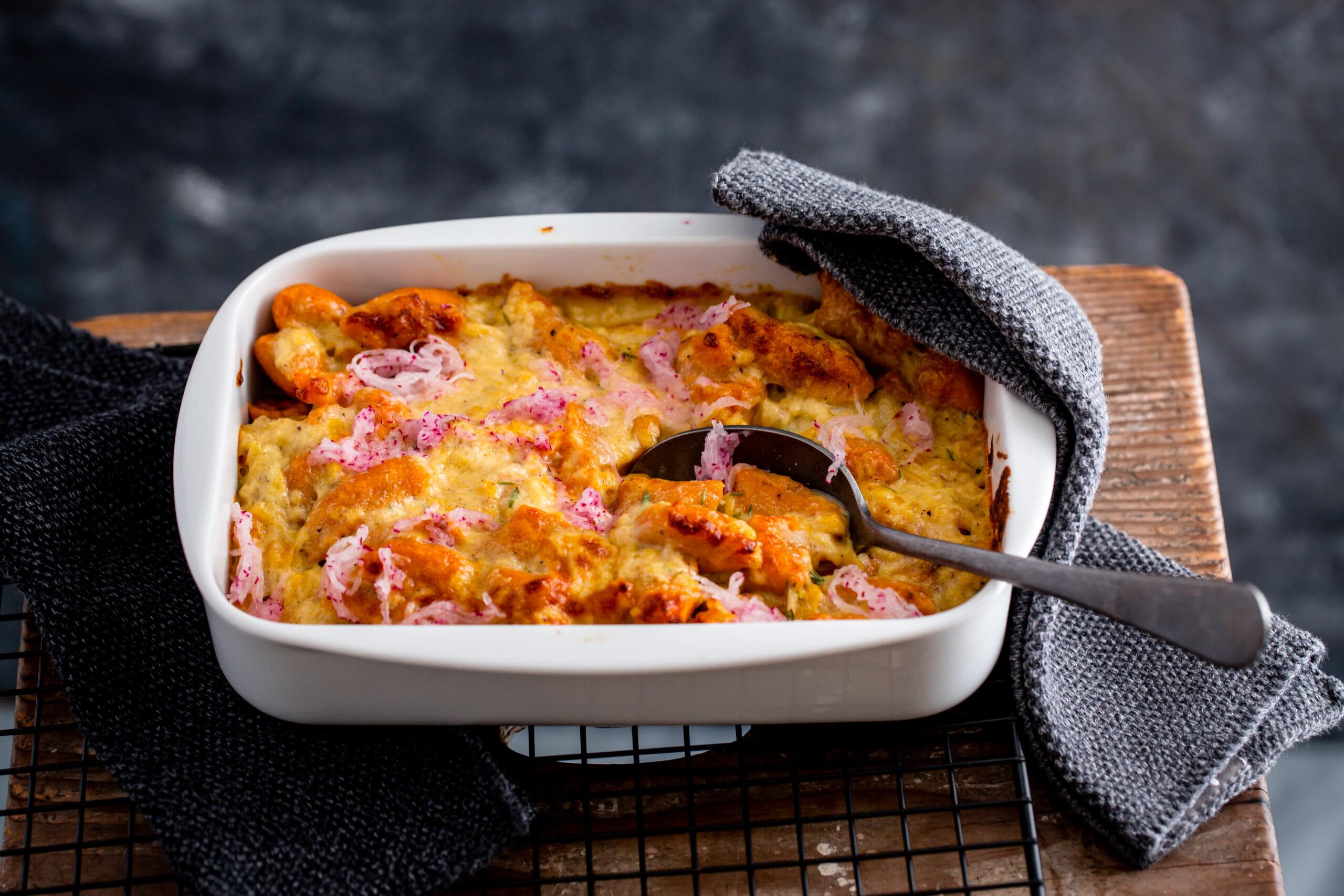 Gratin de gnocchi de patate douce et sauce au Vacherin Mont-d'Or et à la pomme