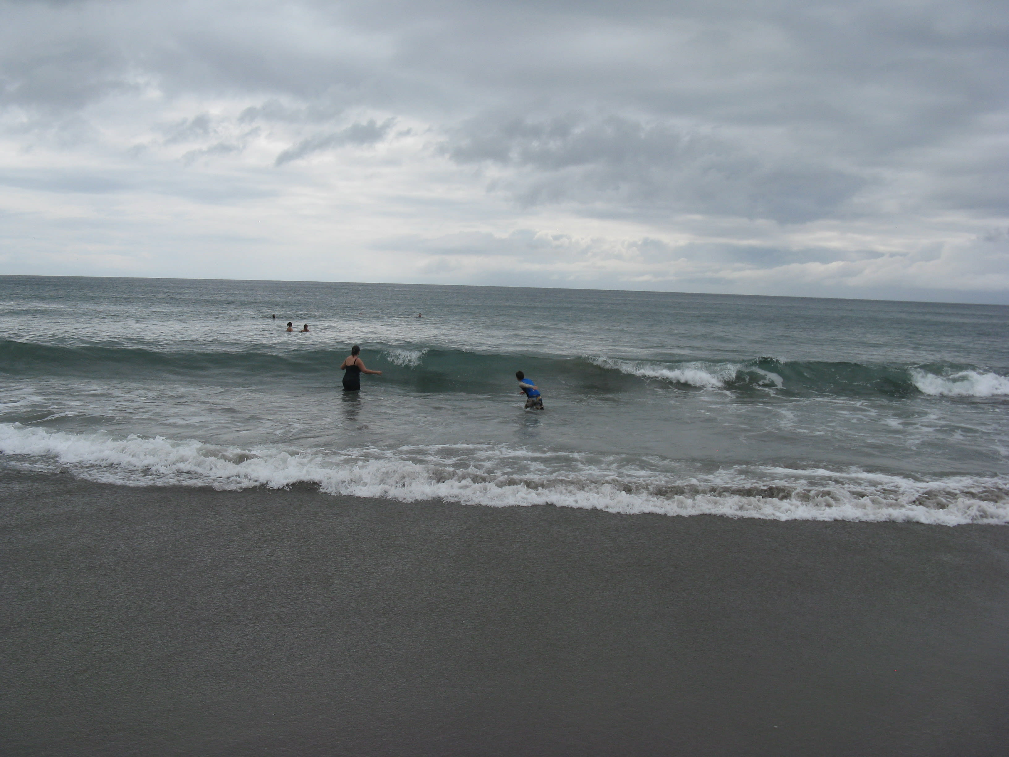 Karen and Lucas in the surf