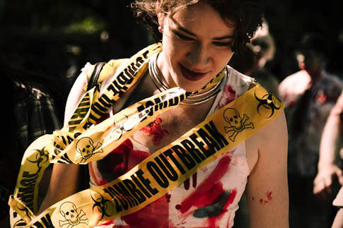 Zombie with caution tape