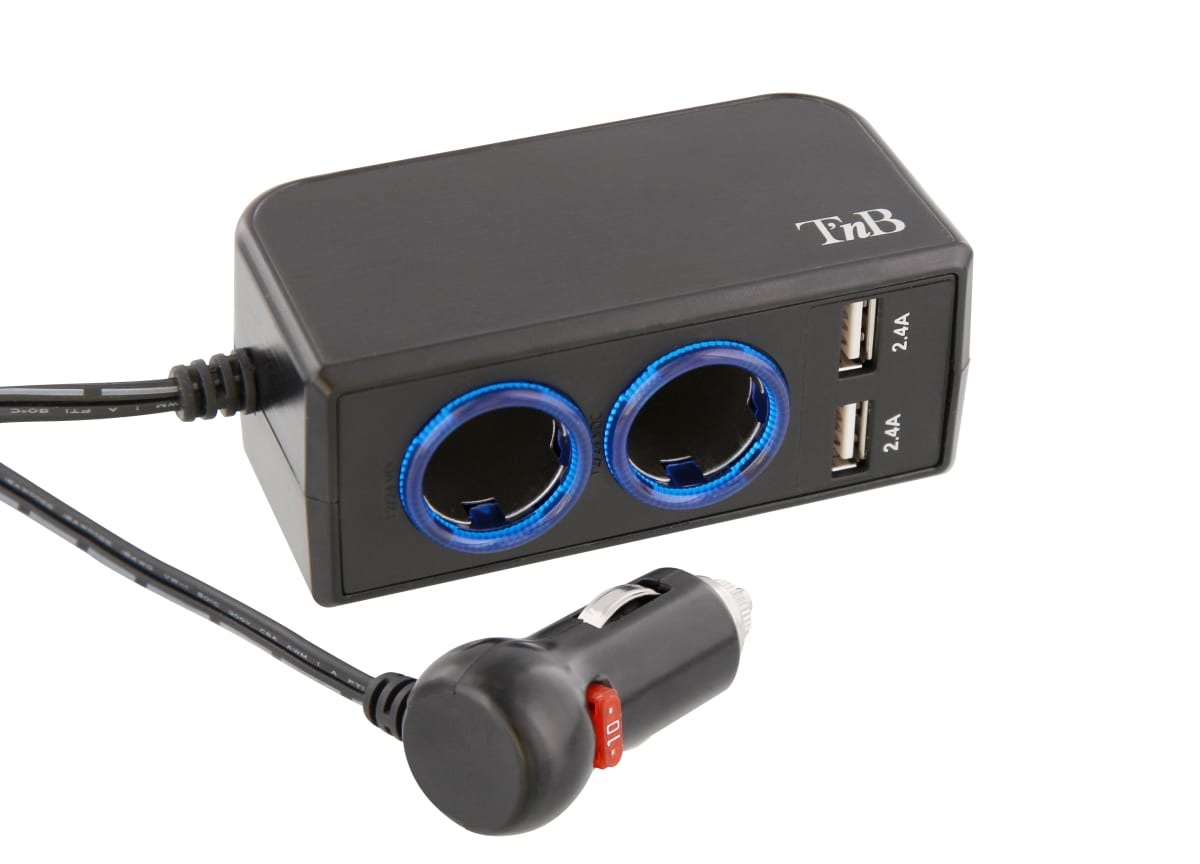2XUSB-A 24W car charger + 2 cigar lighter charger ports
