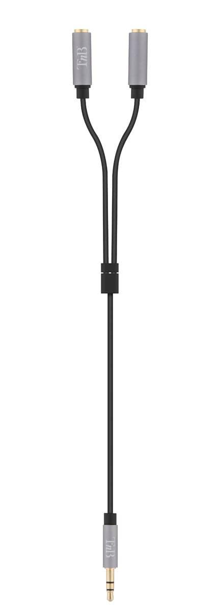 Câble doubleur jack 3,5mm mâle / 2 jack 3,5mm femelle 0,2m