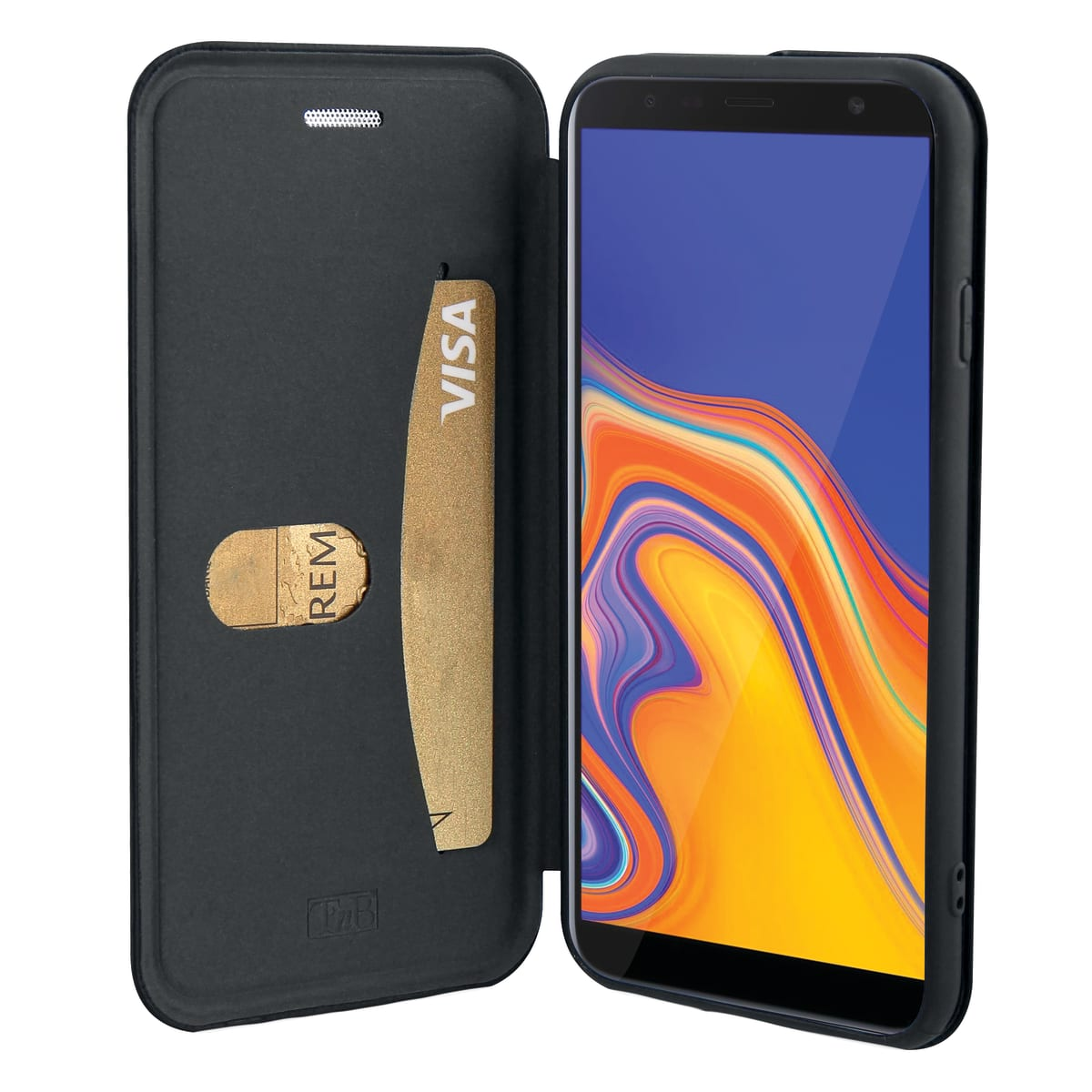 Premium folio case for Samsung Galaxy J4 Plus.