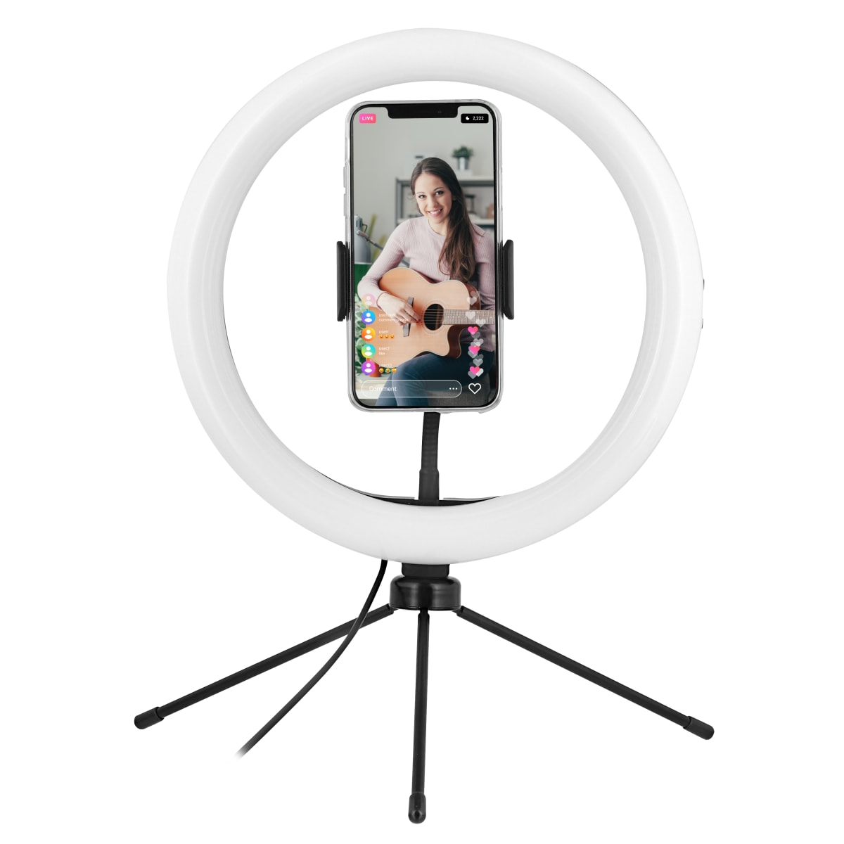 "10"" LED ring with mini tripod for smartphone"