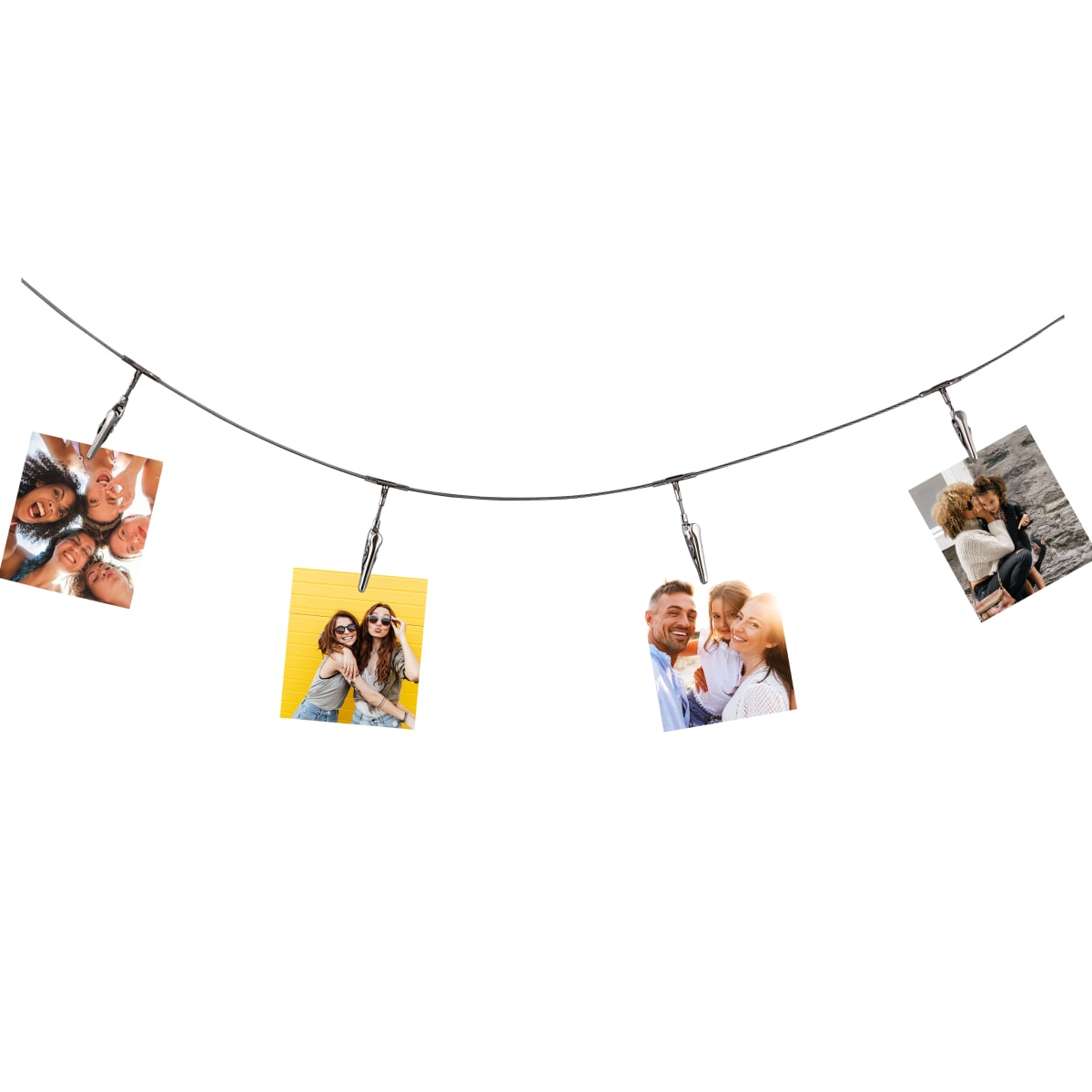 Photo holder cable with 10 clips