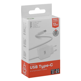 Wall charger with USB Type-C integrated cable 12W