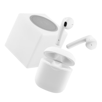 Combo TWS wireless earphones & LUMI 2 speaker white
