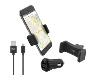 3 in 1 car pack 2XUSB-A 10W charger + air vent grid holder + micro USB cable