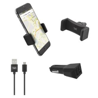 Pack voiture 3 en 1 chargeur allume-cigare 2XUSB-A 20W + support grille d'aération + câble micro USB