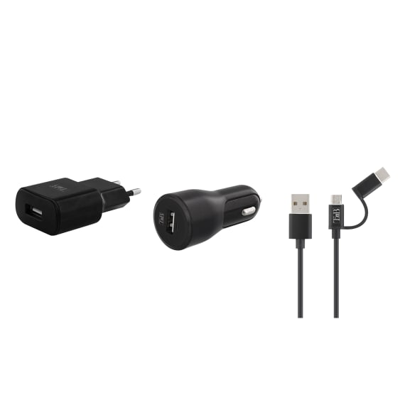 1 USB charging pack wall charger + car charger + 2 in 1 cable 12W