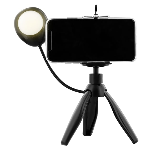 Mini tripod for smartphone with LED