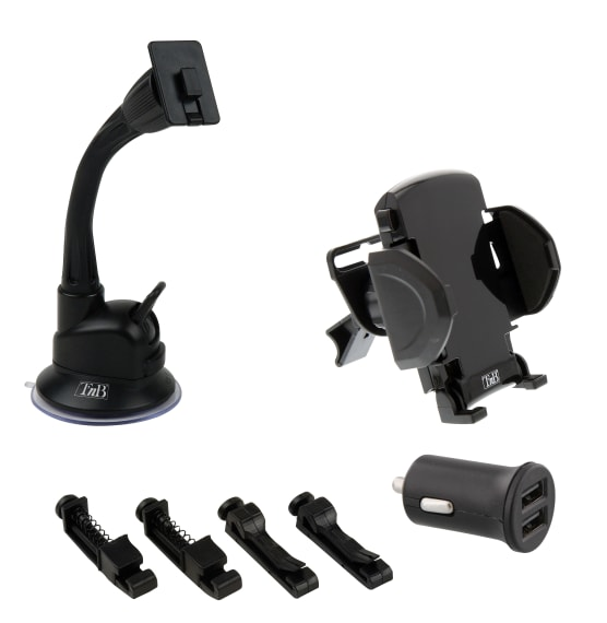 3 in 1 car pack 2XUSB-A 12W charger + windscreen and dashboard holder